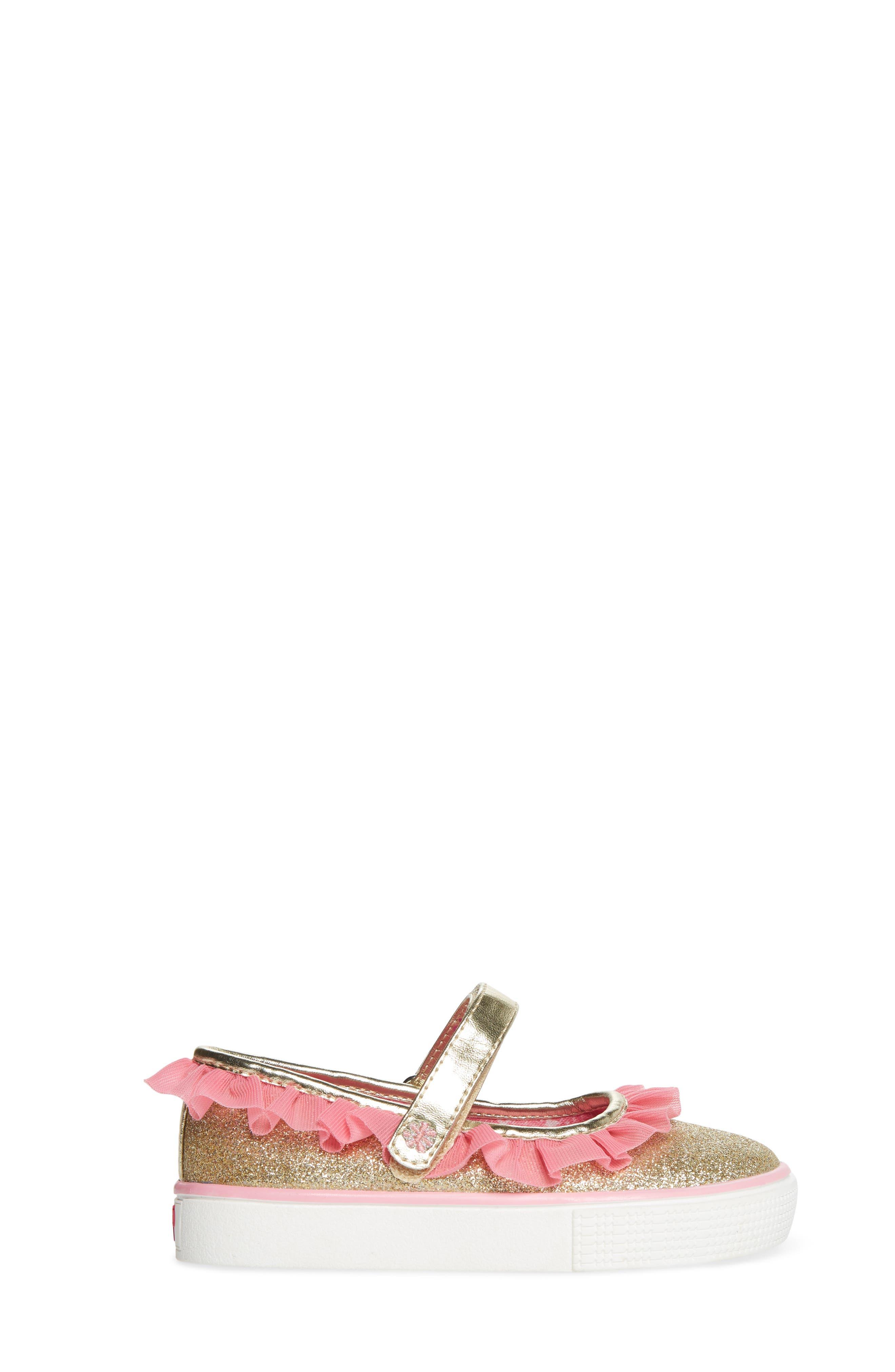 Ashlyn Tulle Mary Jane Sneaker,                             Alternate thumbnail 3, color,                             Gold