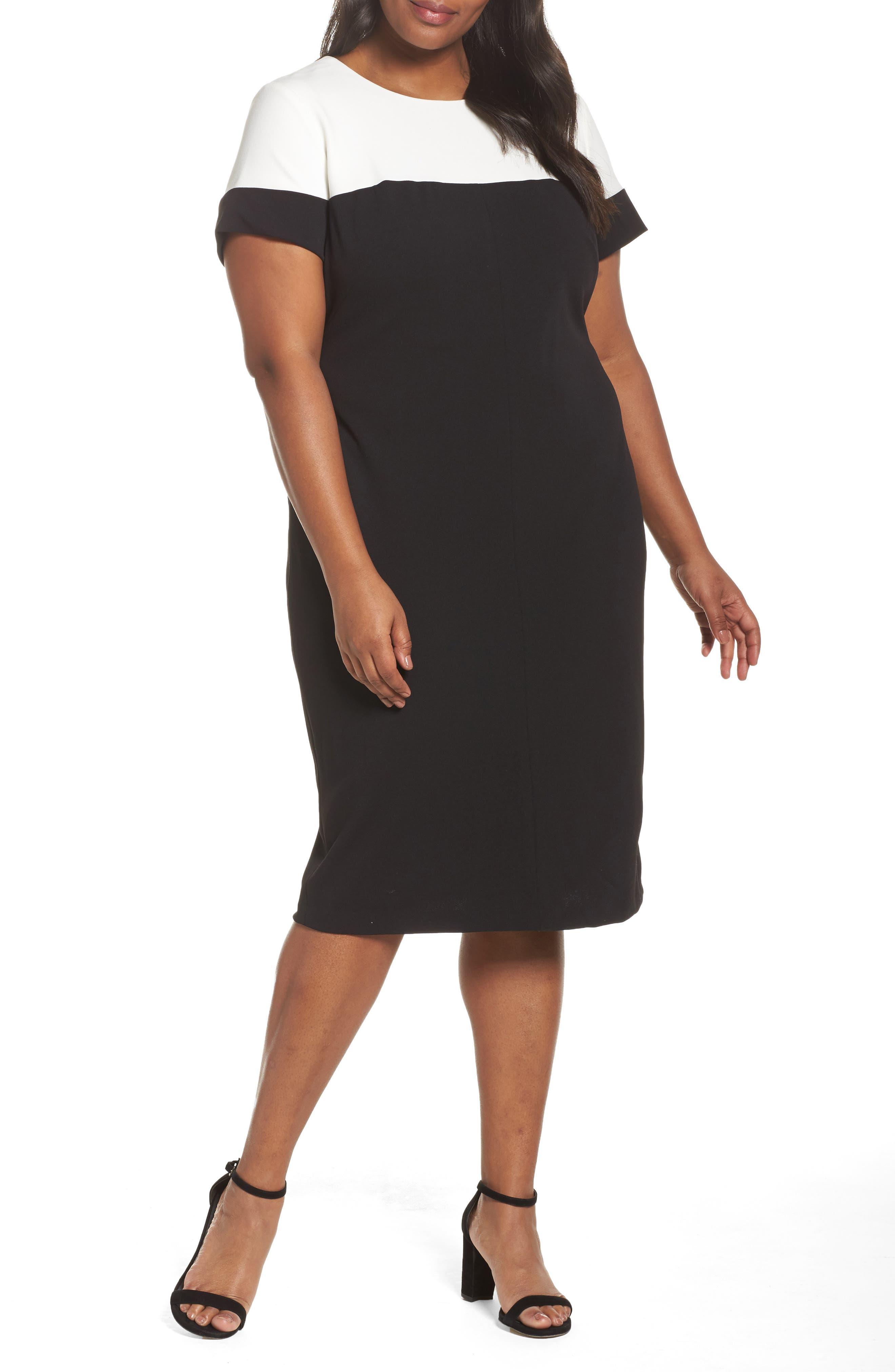 Stretch Crepe Sheath Dress,                             Main thumbnail 1, color,                             Black/ Ivory