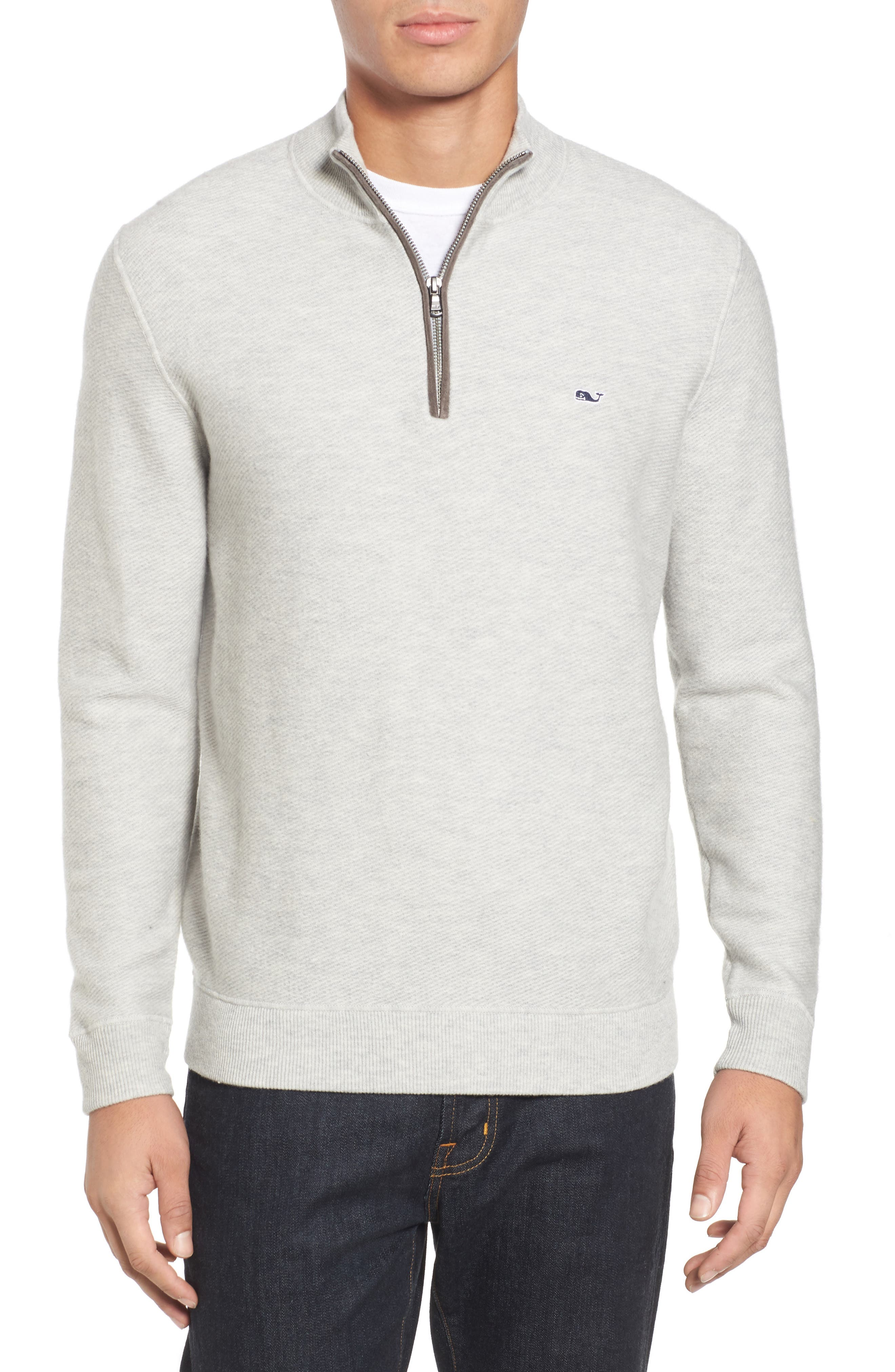 Main Image - vineyard vines Merino Wool Twill Stitch Quarter Zip Sweater