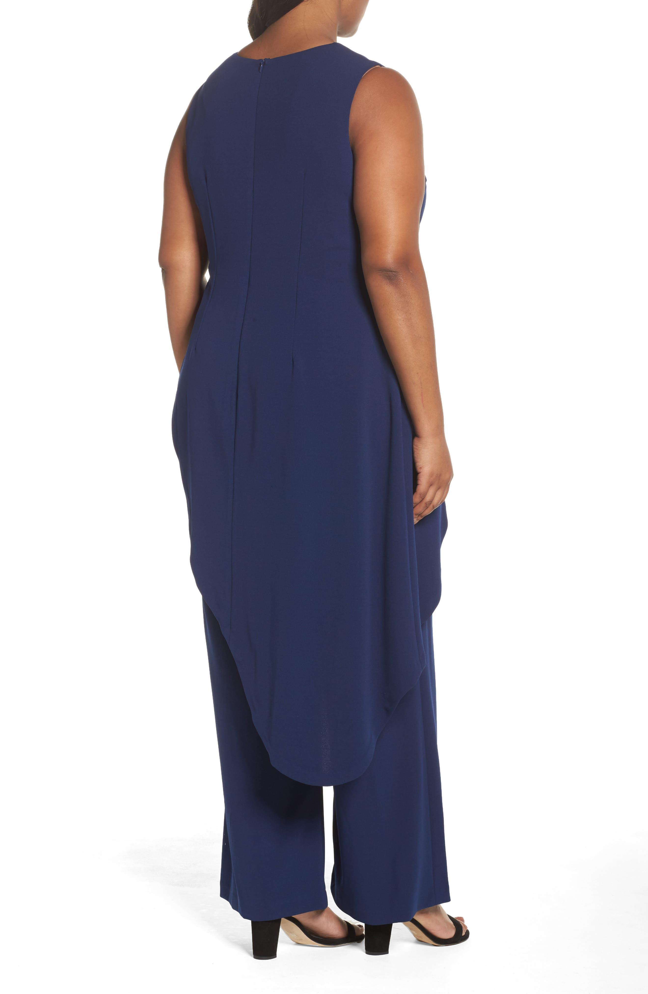Knit Crepe Asymmetrical Jumpsuit,                             Alternate thumbnail 2, color,                             Blue Violet
