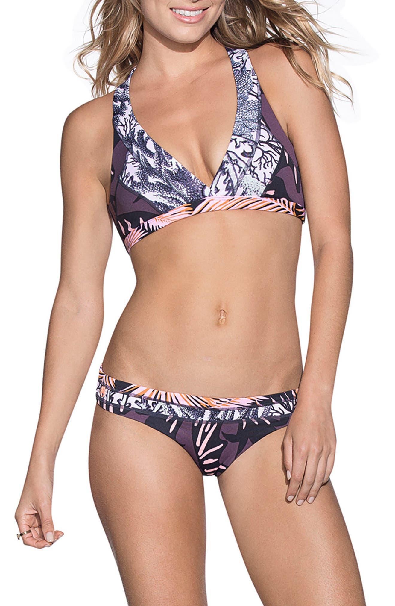 Hot Springs Reversible Bikini Top,                             Alternate thumbnail 3, color,                             Black Multi