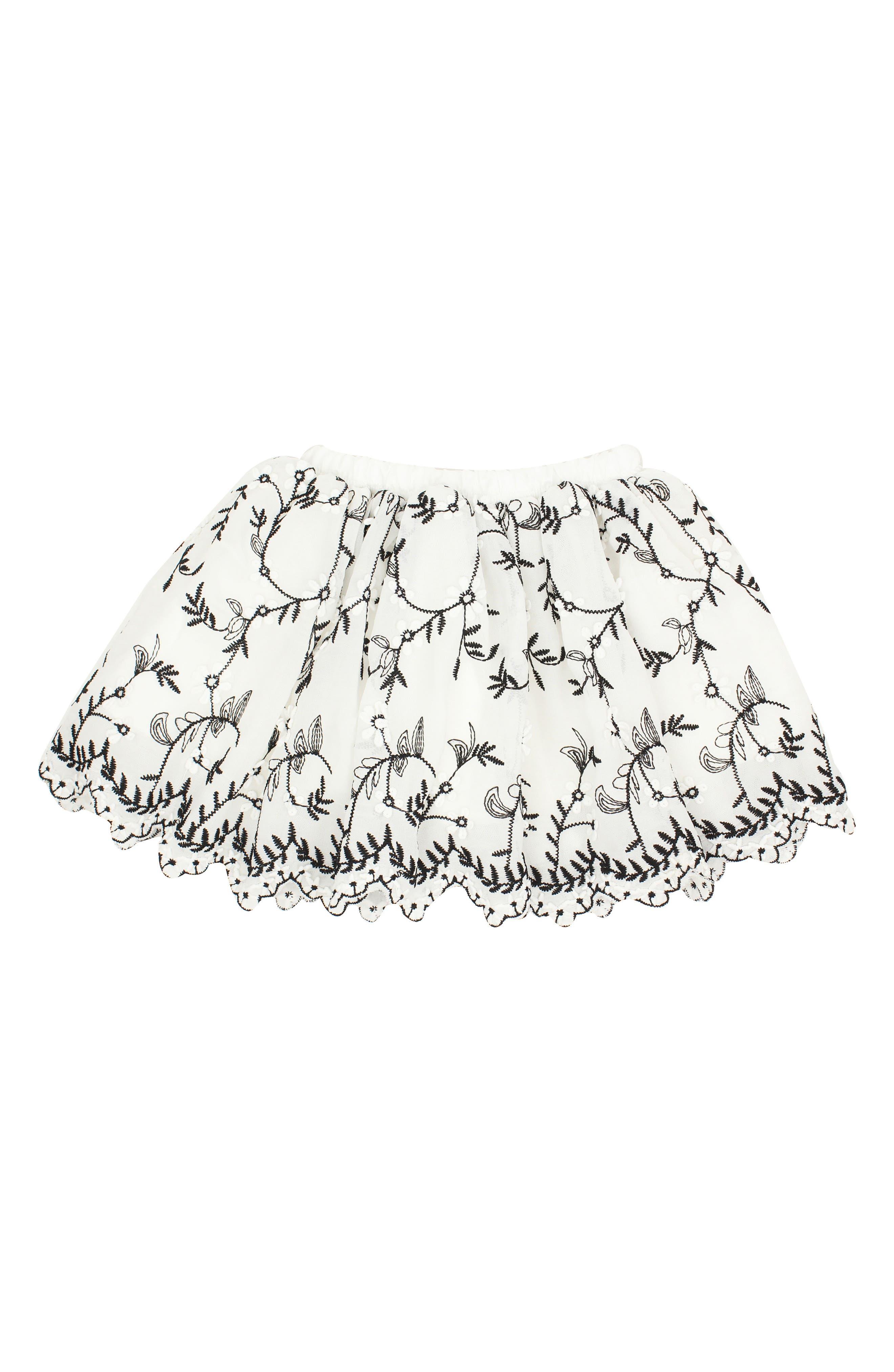Alternate Image 1 Selected - Popatu Embroidered Tulle Skirt (Toddler Girls & Little Girls)