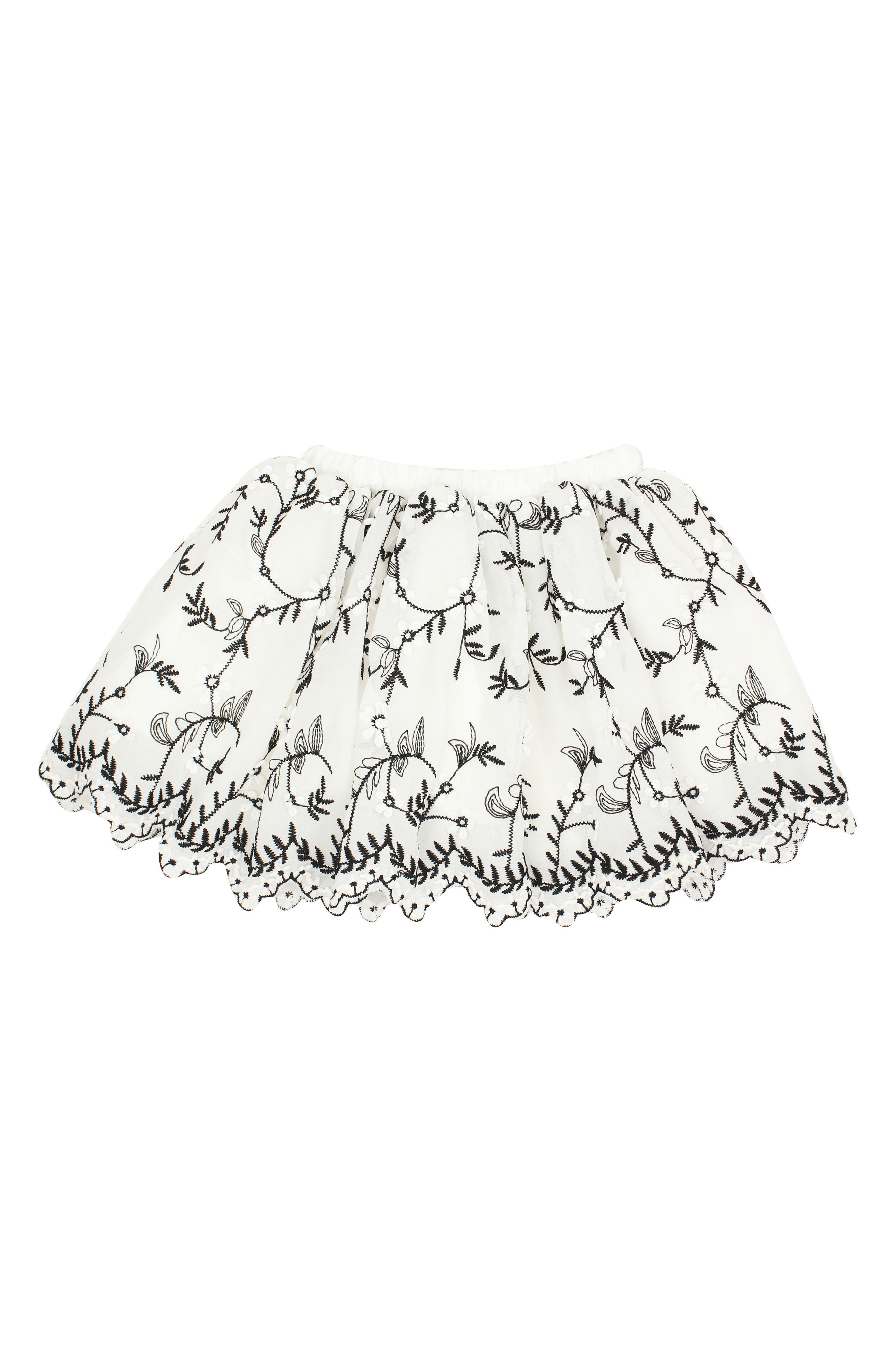Embroidered Tulle Skirt,                         Main,                         color, White