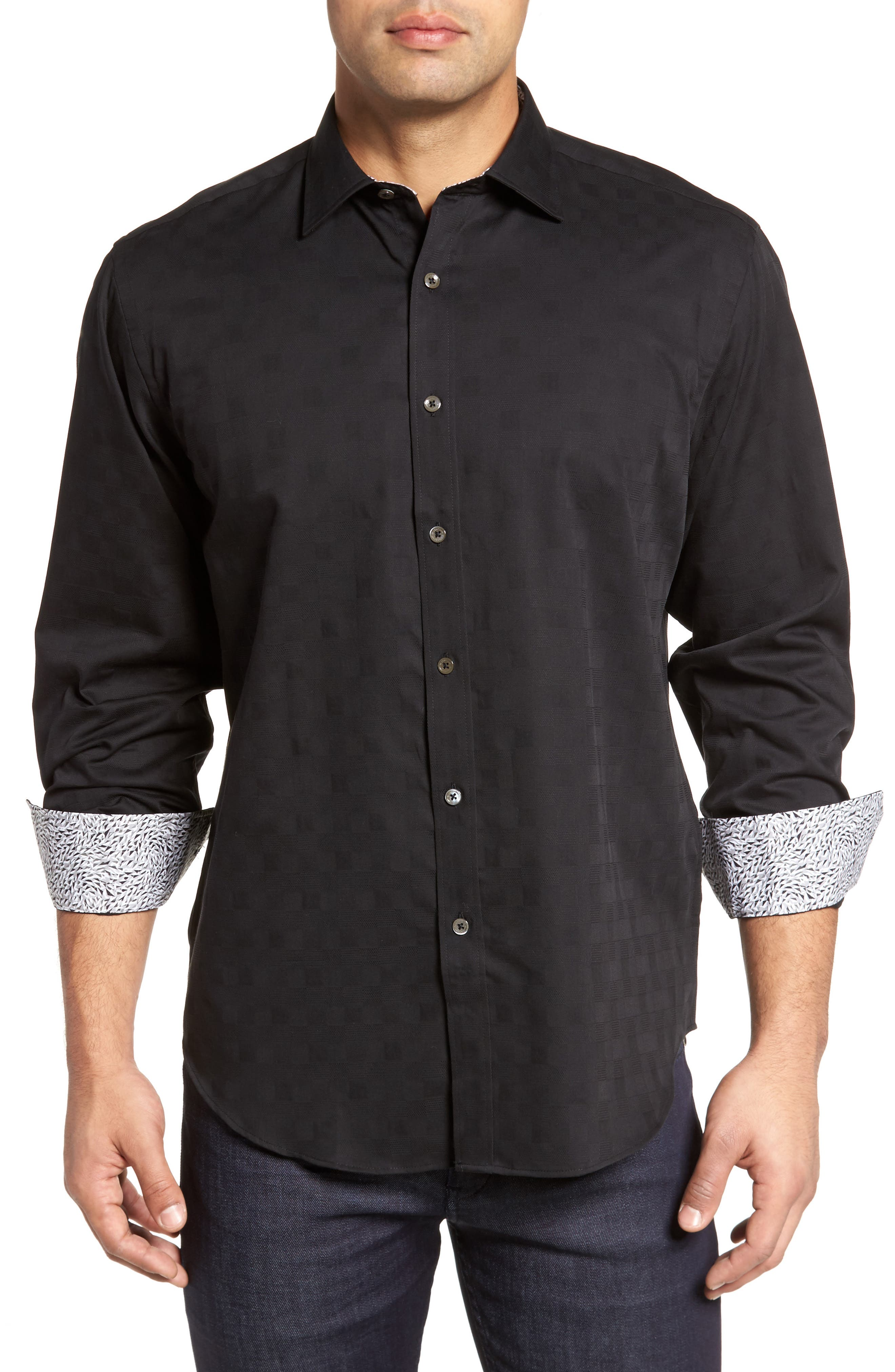Classic Fit Check Jacquard Sport Shirt,                             Main thumbnail 1, color,                             Black