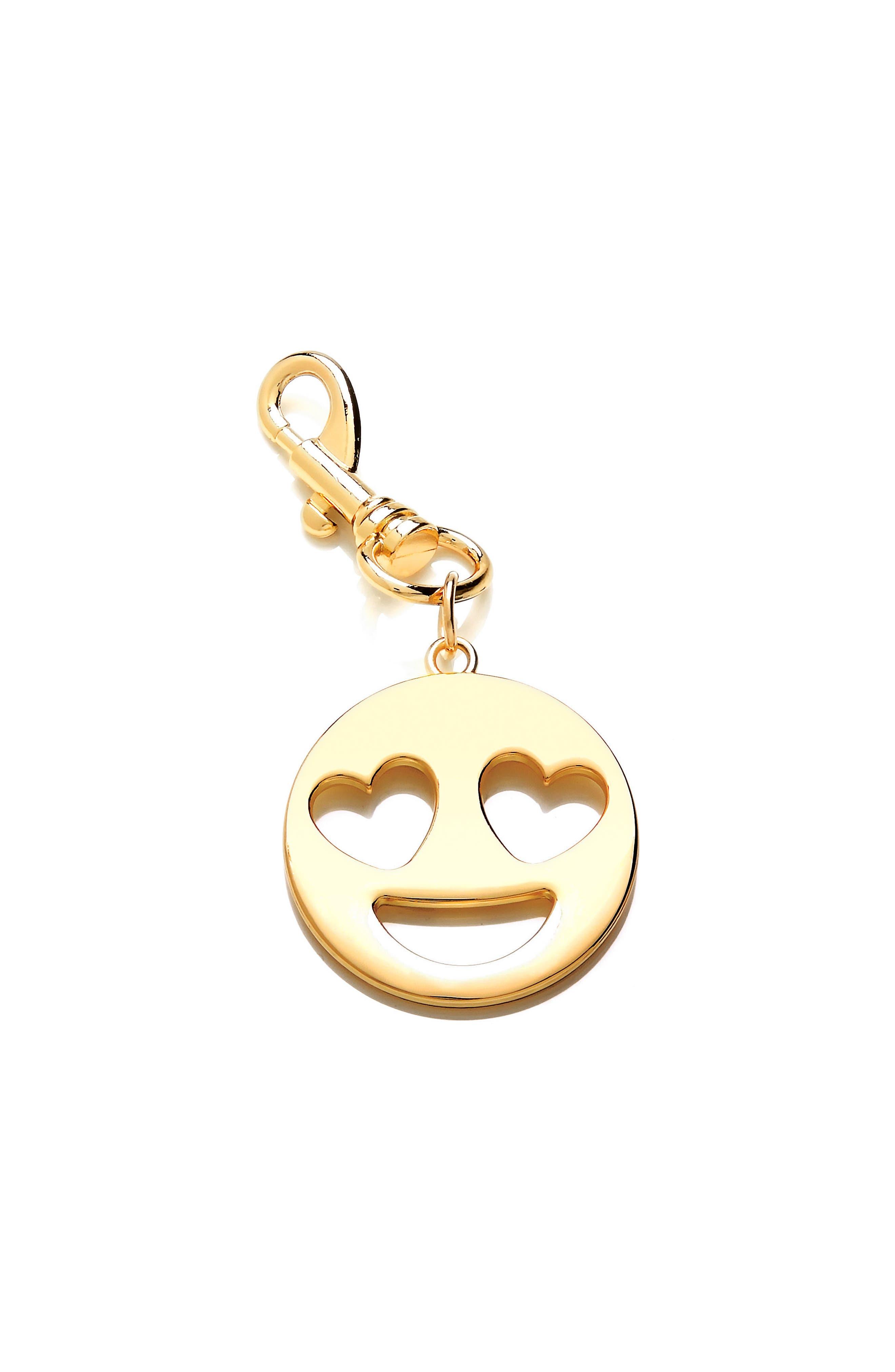 Main Image - Estella Bartlett Heart Eyes Emoji Metal Bag Charm