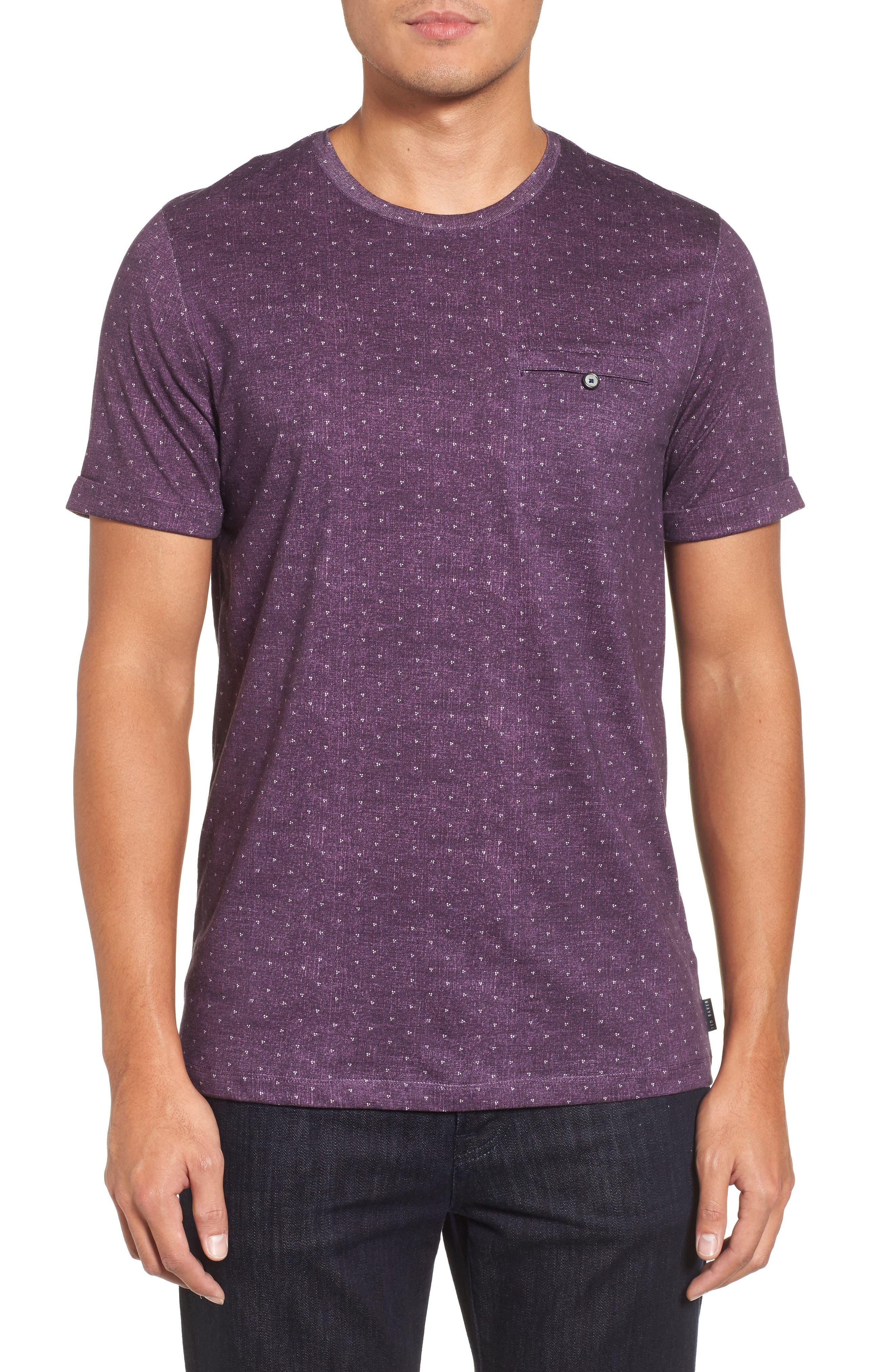 Giovani Modern Slim Fit Print T-Shirt,                             Main thumbnail 1, color,                             Purple
