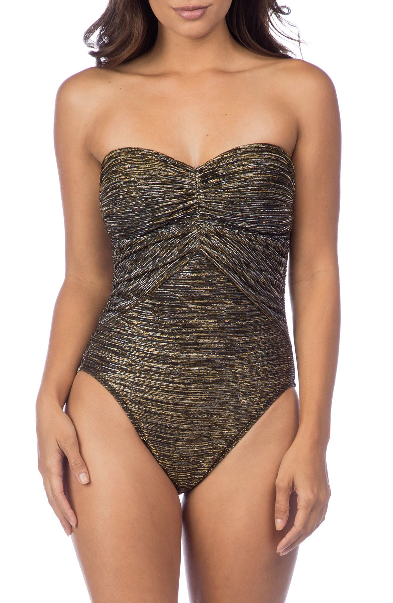 Bling It On Bandeau One-Piece Swimsuit,                         Main,                         color, Gold