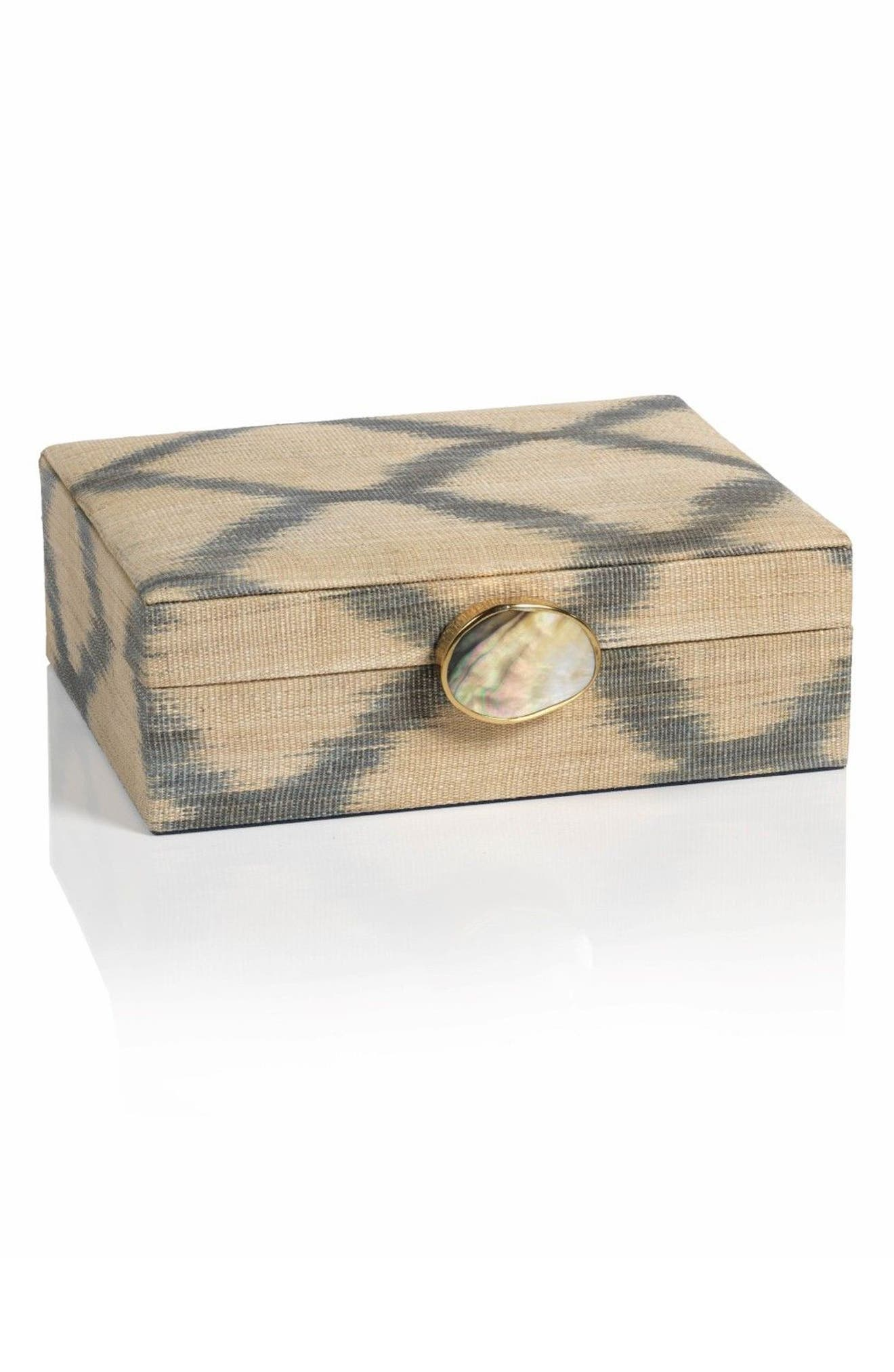 Small Ikat Storage Box,                             Main thumbnail 1, color,                             Beige/ Gray