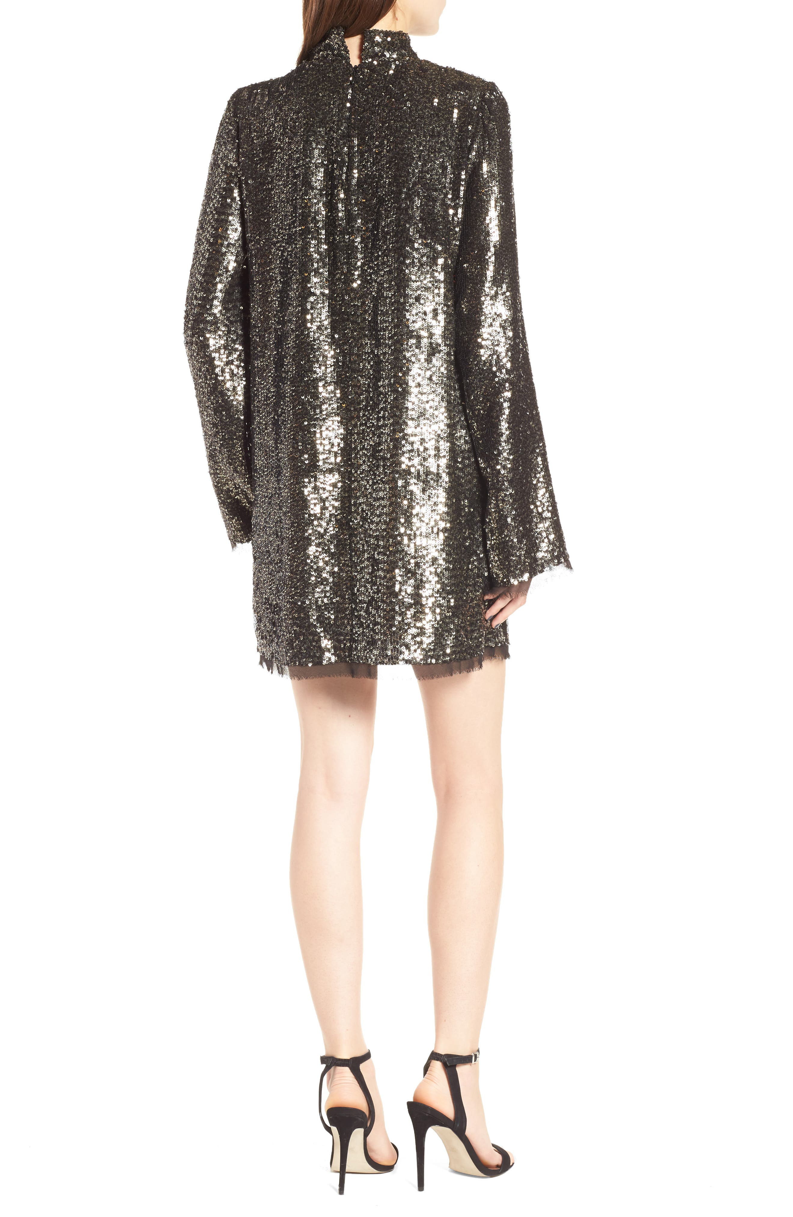 Sequin Shift Dress,                             Alternate thumbnail 2, color,                             Silver Multi