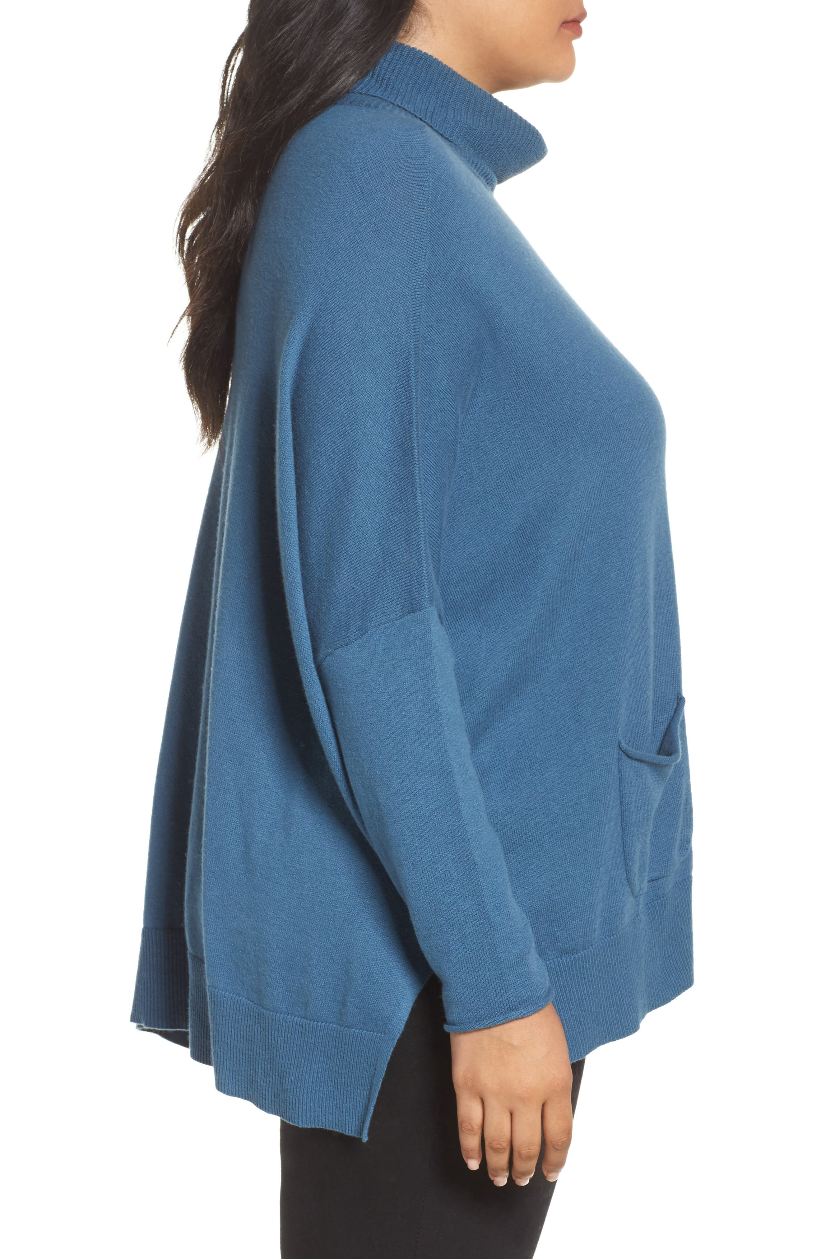 Relaxed Cotton & Cashmere Sweater,                             Alternate thumbnail 3, color,                             Teal Sound