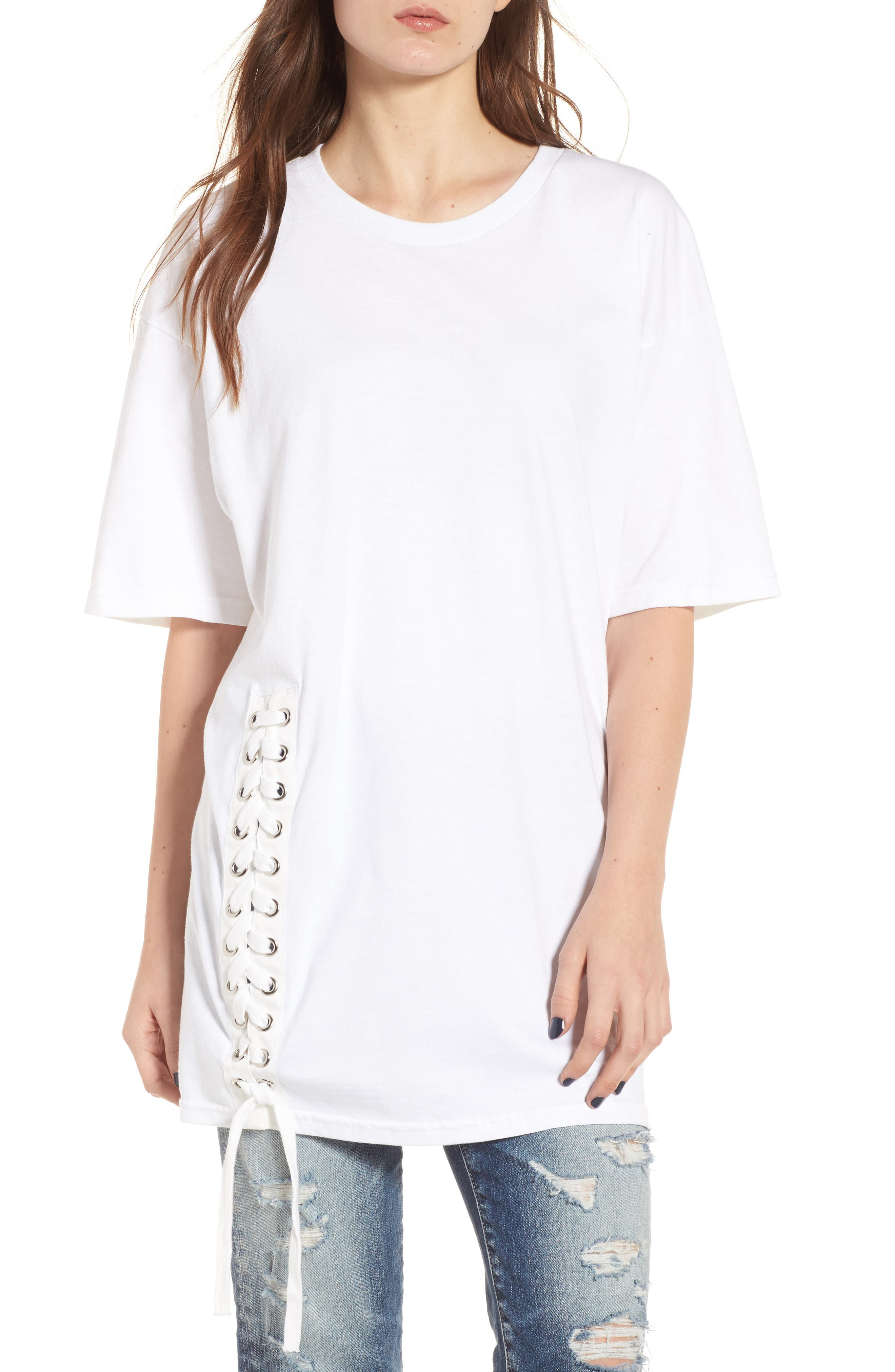 Lace-Up Tee,                         Main,                         color, Bright White