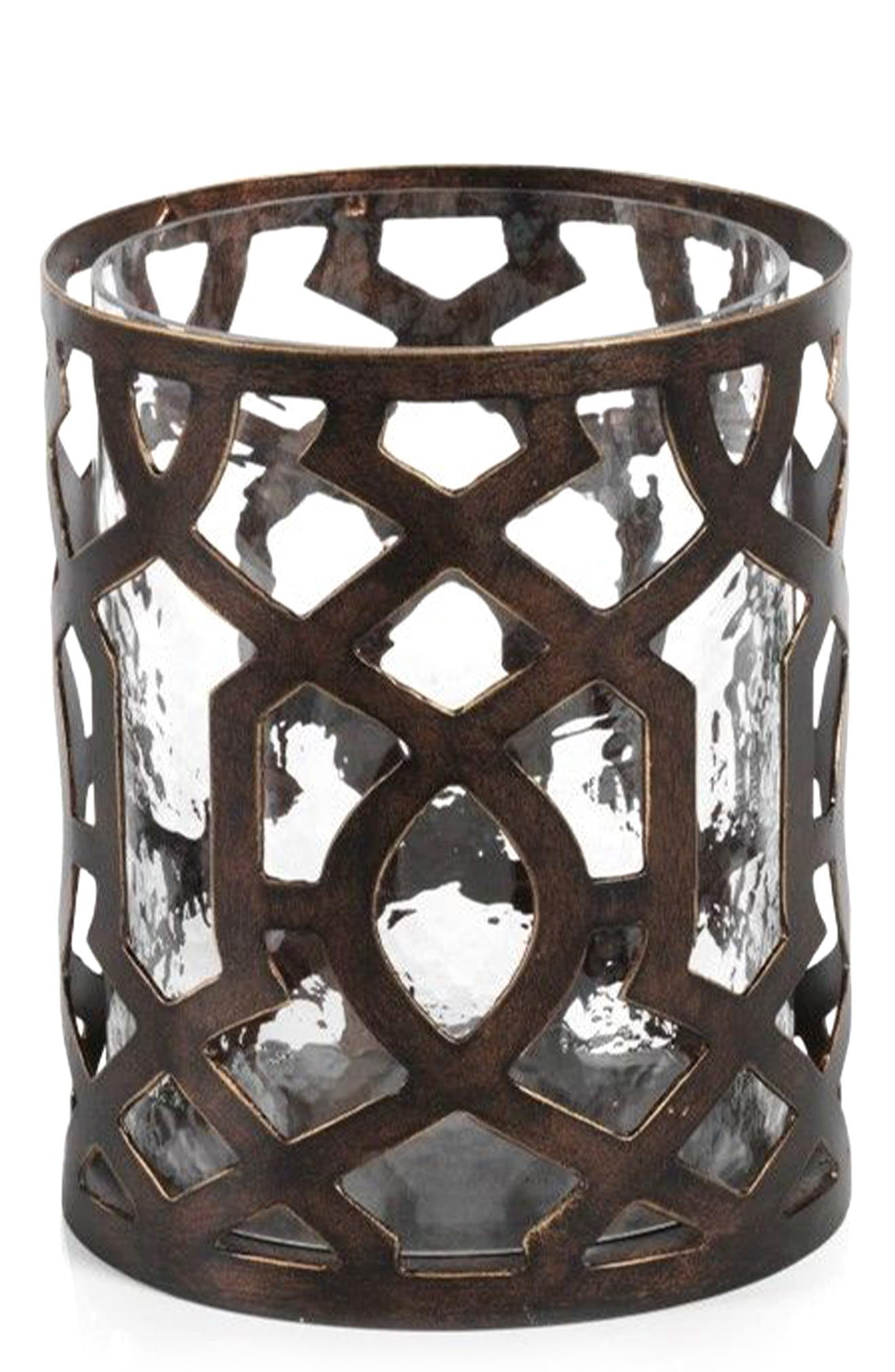 Small Trocadero Hurricane Candle Holder,                         Main,                         color, Metallic/ Silver/ Grey