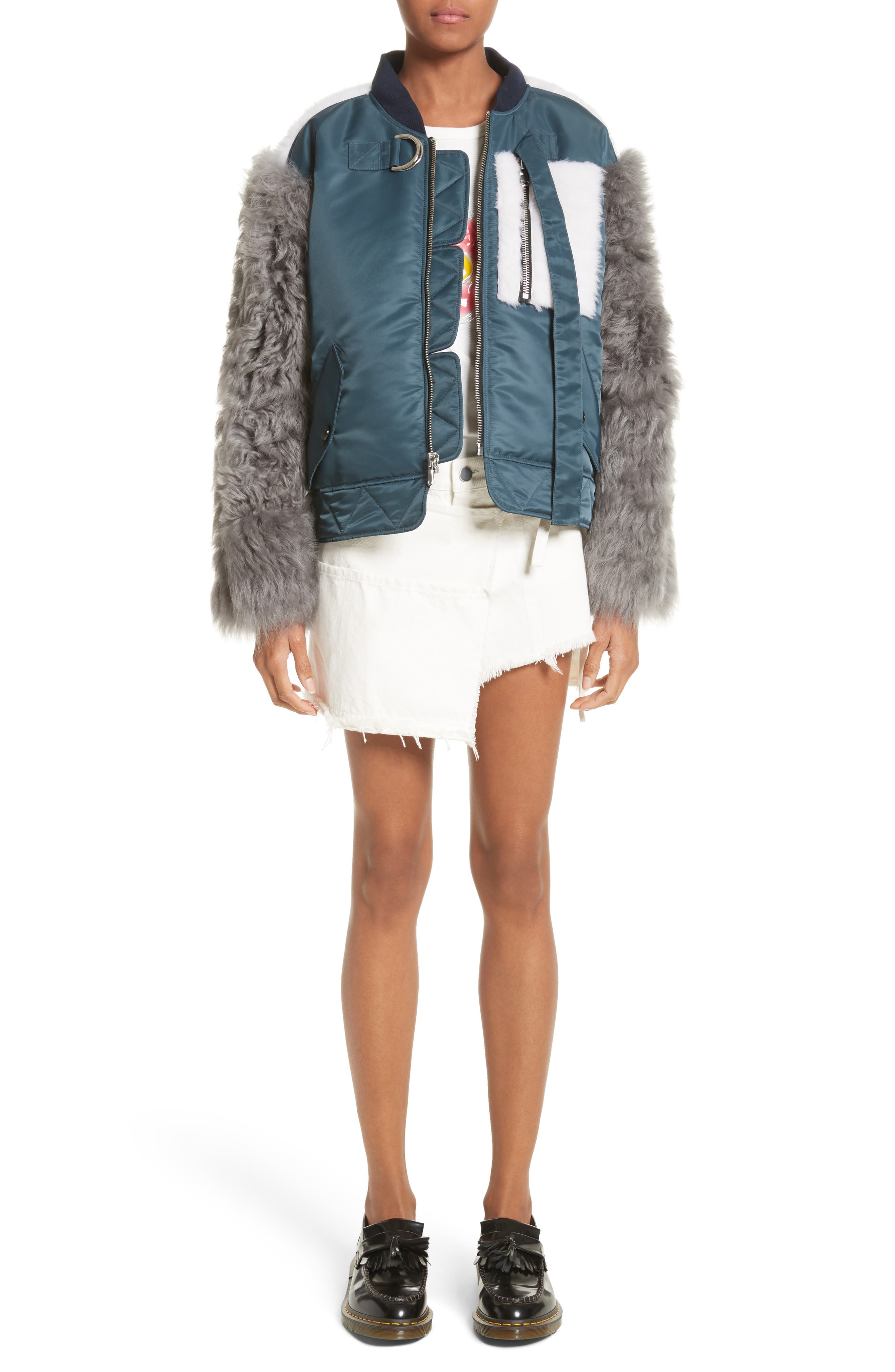 Peter Genuine Shearling Sleeve Jacket,                             Alternate thumbnail 7, color,                             Navy