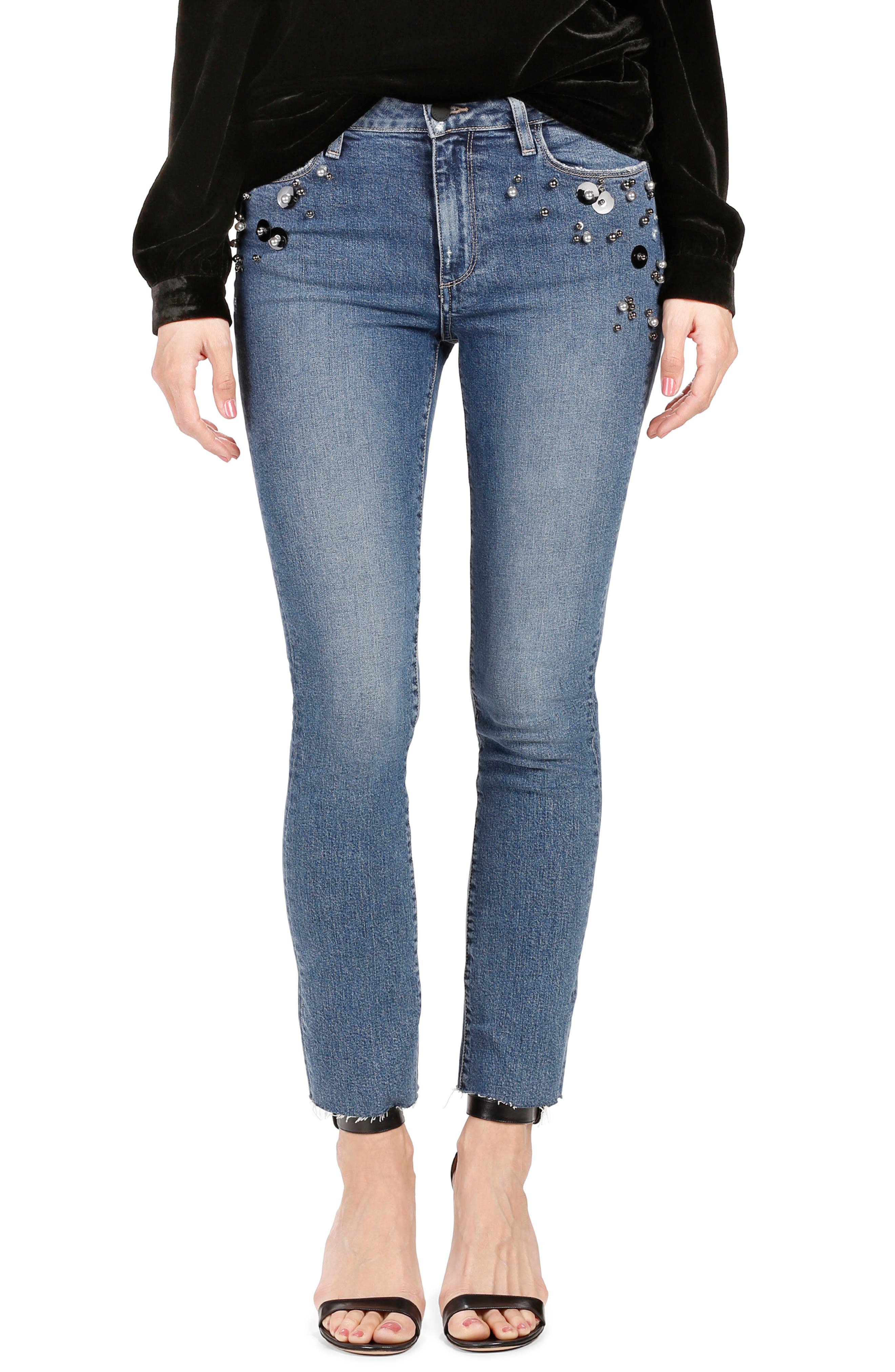 Jacqueline High Waist Ankle Straight Leg Jeans,                         Main,                         color, Naveen Embellished