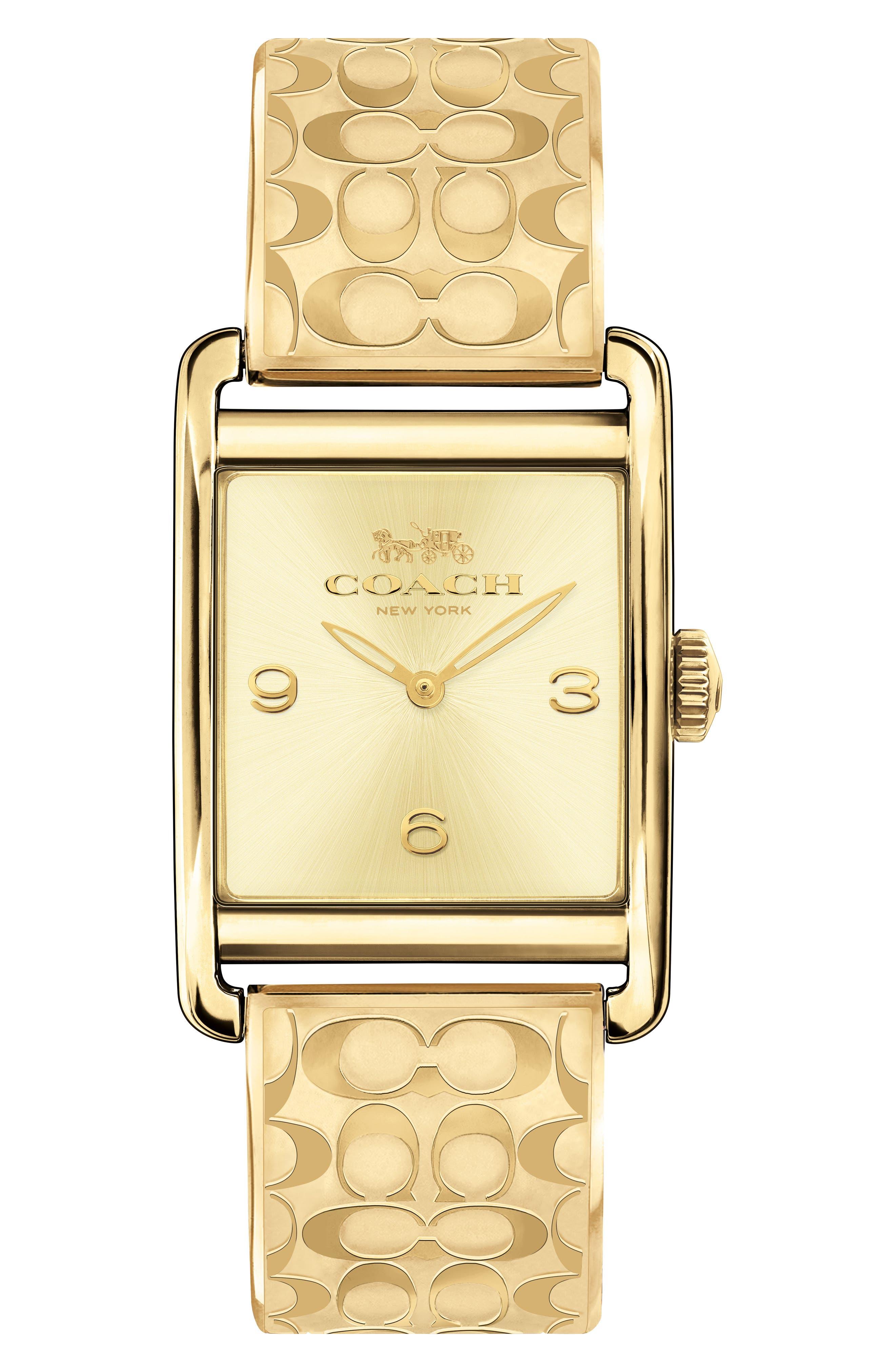 Renwick Bracelet Tank Watch, 24mm x 35mm,                             Main thumbnail 1, color,                             Gold