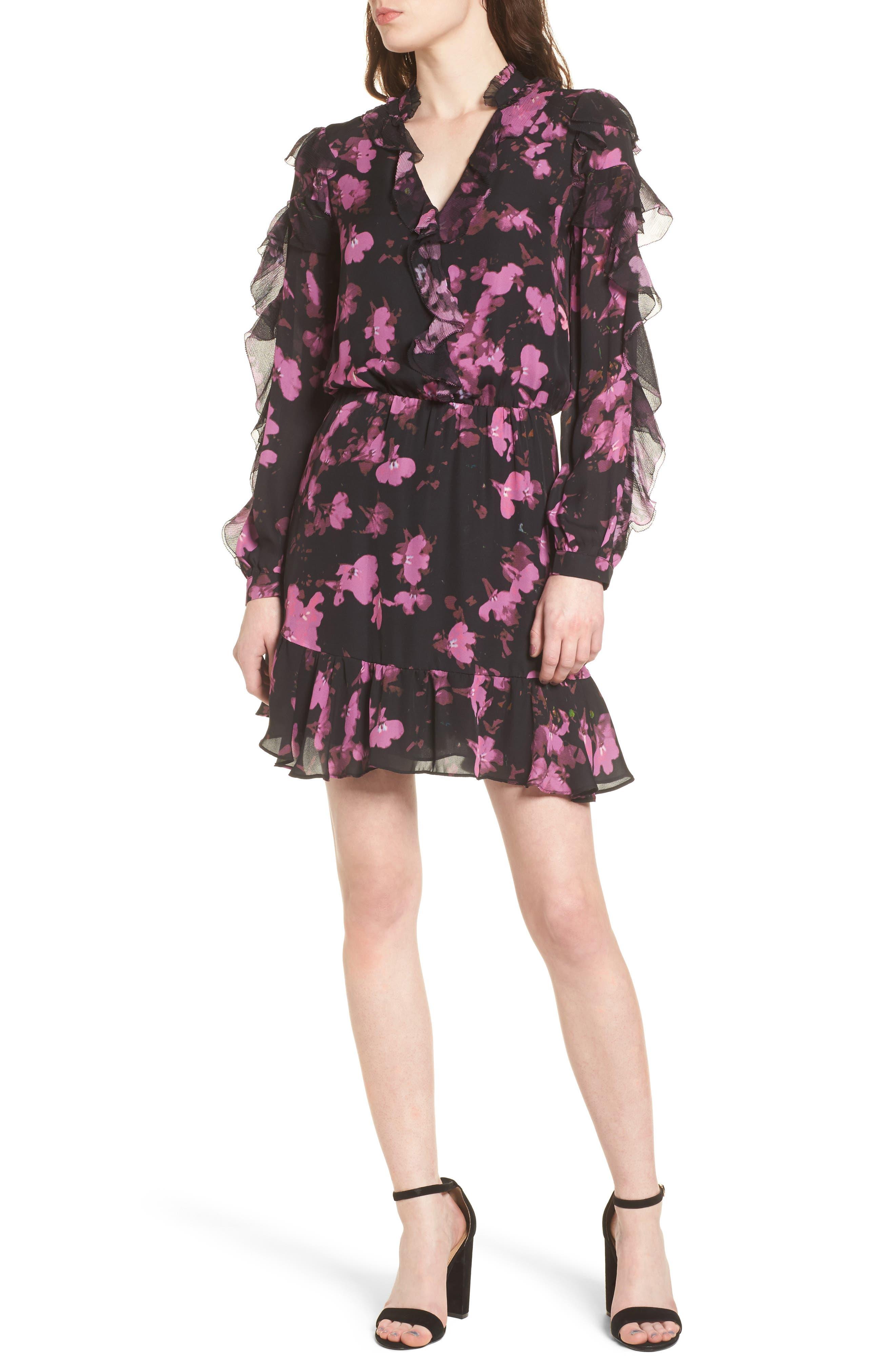 Zinnia Ruffle Silk Dress,                             Main thumbnail 1, color,                             Petalbloom