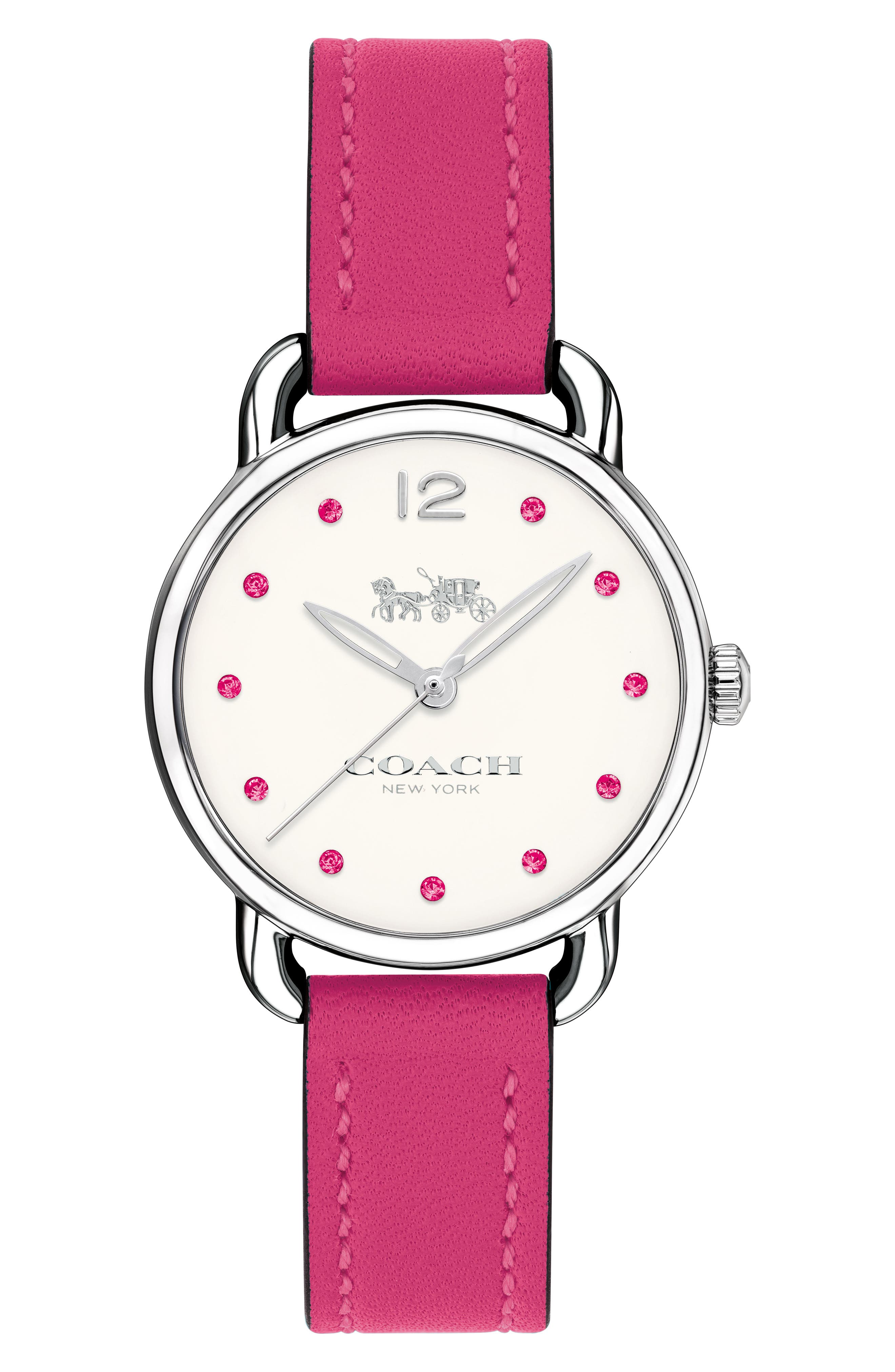 Delancey Crystal Accent Leather Strap Watch, 28mm,                         Main,                         color, Pink/ White/ Silver