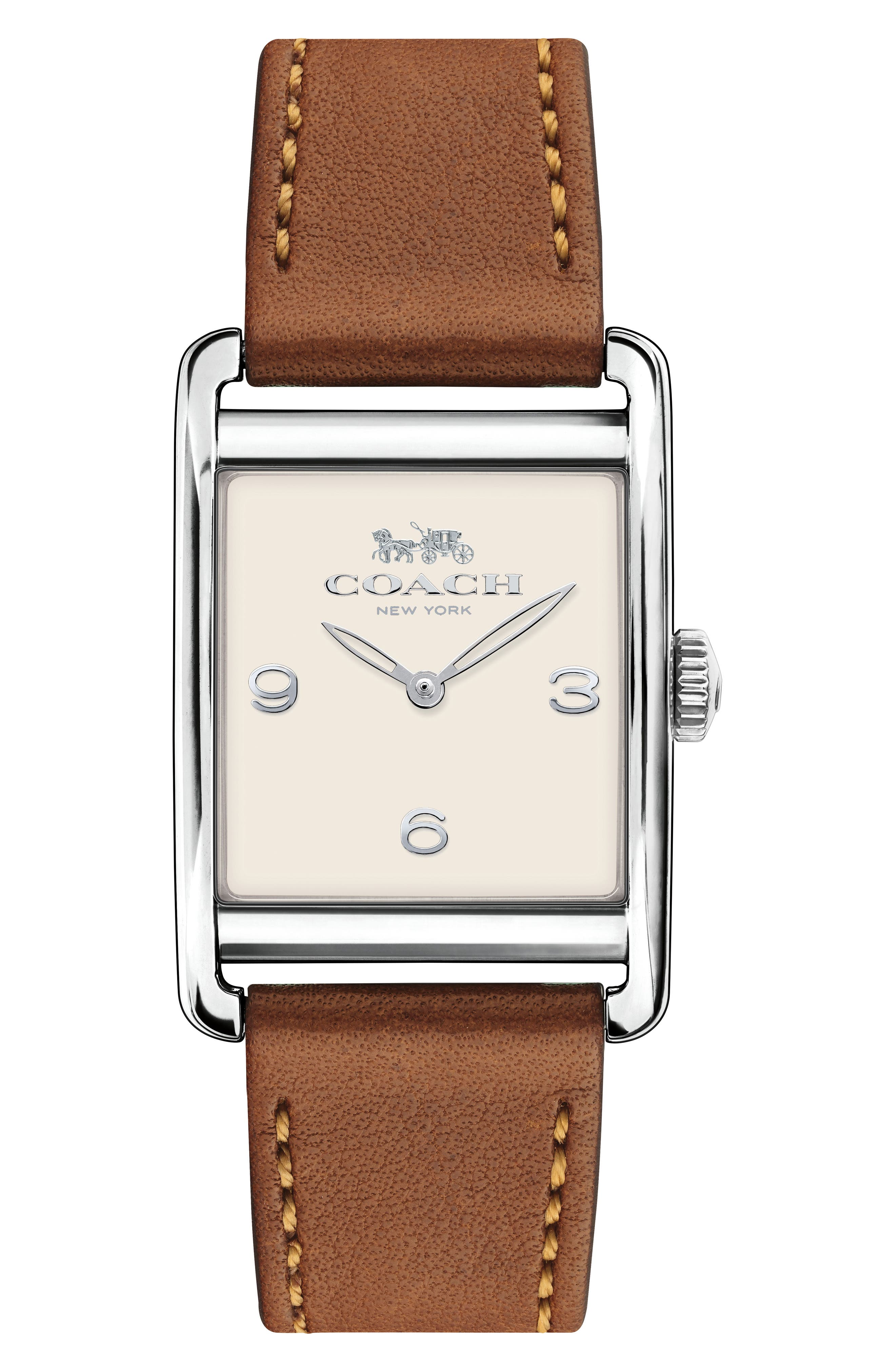 Renwick Leather Strap Tank Watch, 24mm x 35mm,                         Main,                         color, Brown/ White/ Silver
