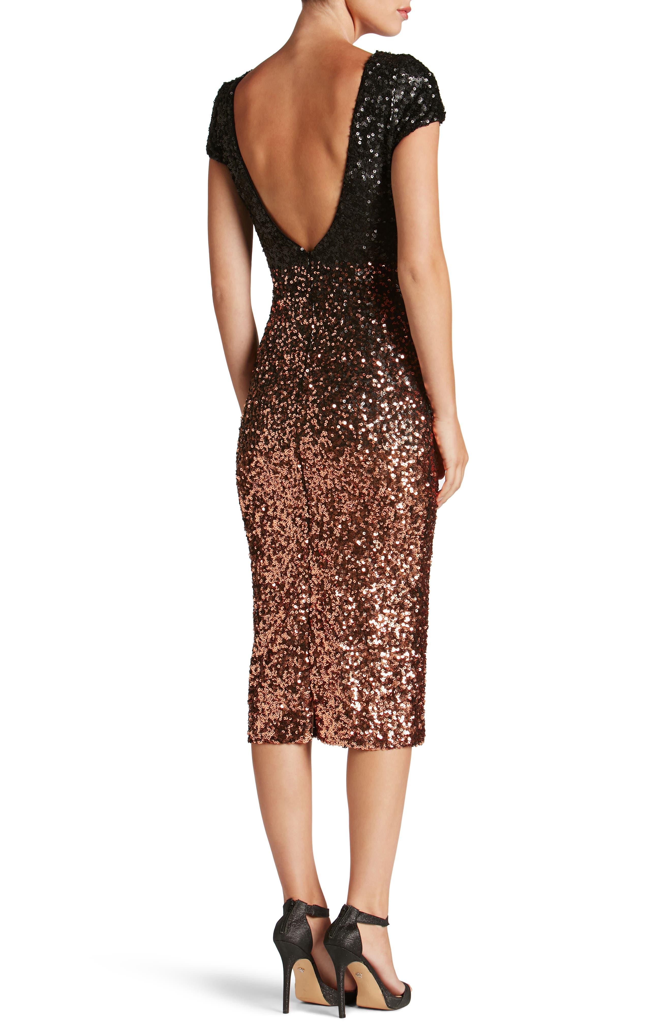 Marcella Ombré Sequin Body-Con Dress,                             Alternate thumbnail 2, color,                             Copper/ Black