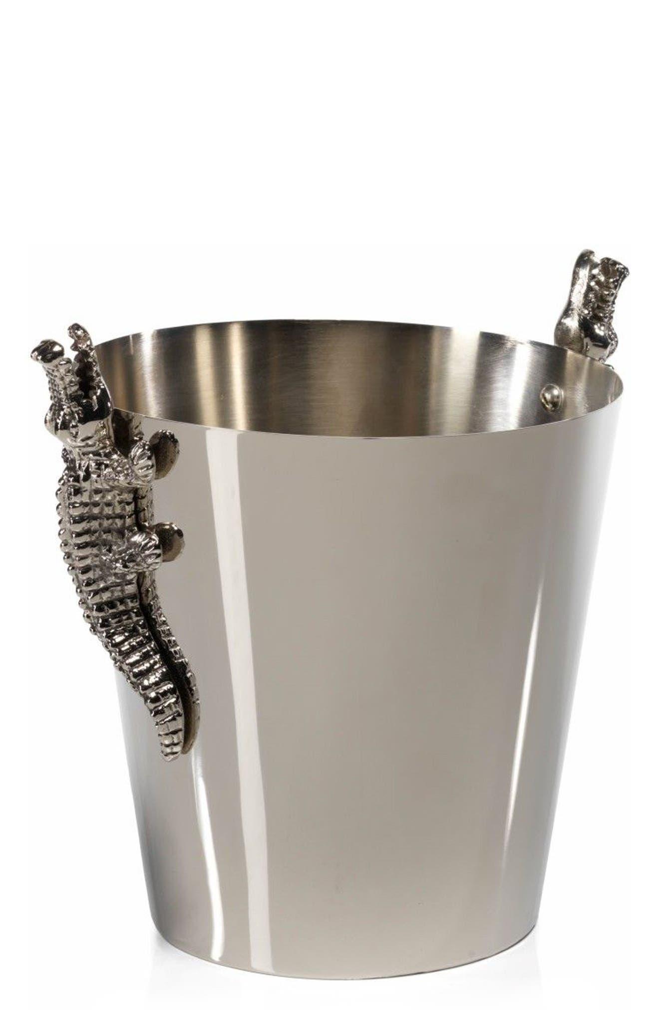 Crocodile Ice Bucket,                         Main,                         color, Silver
