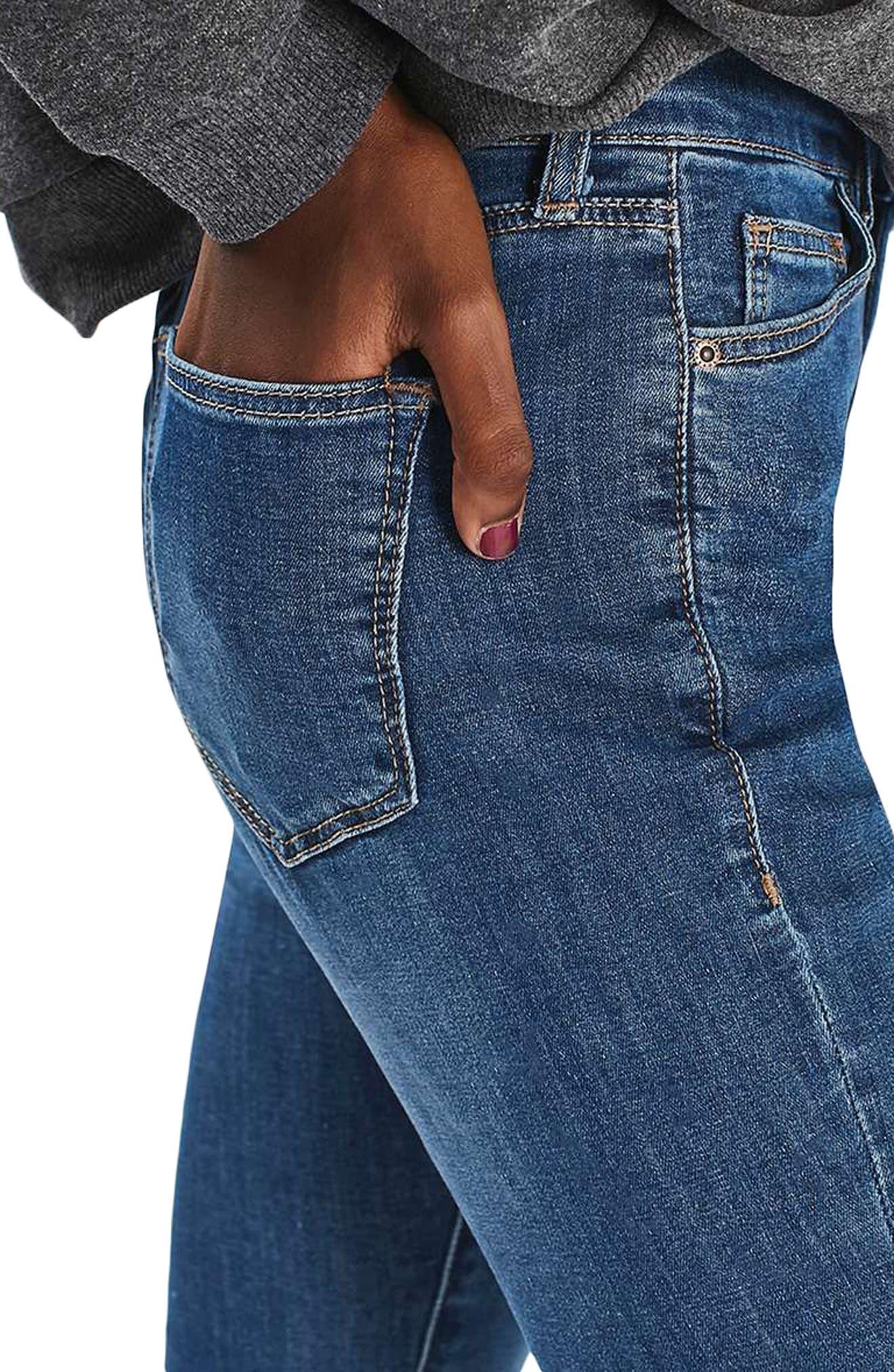 Leigh Skinny Jeans,                             Alternate thumbnail 3, color,                             Mid Denim