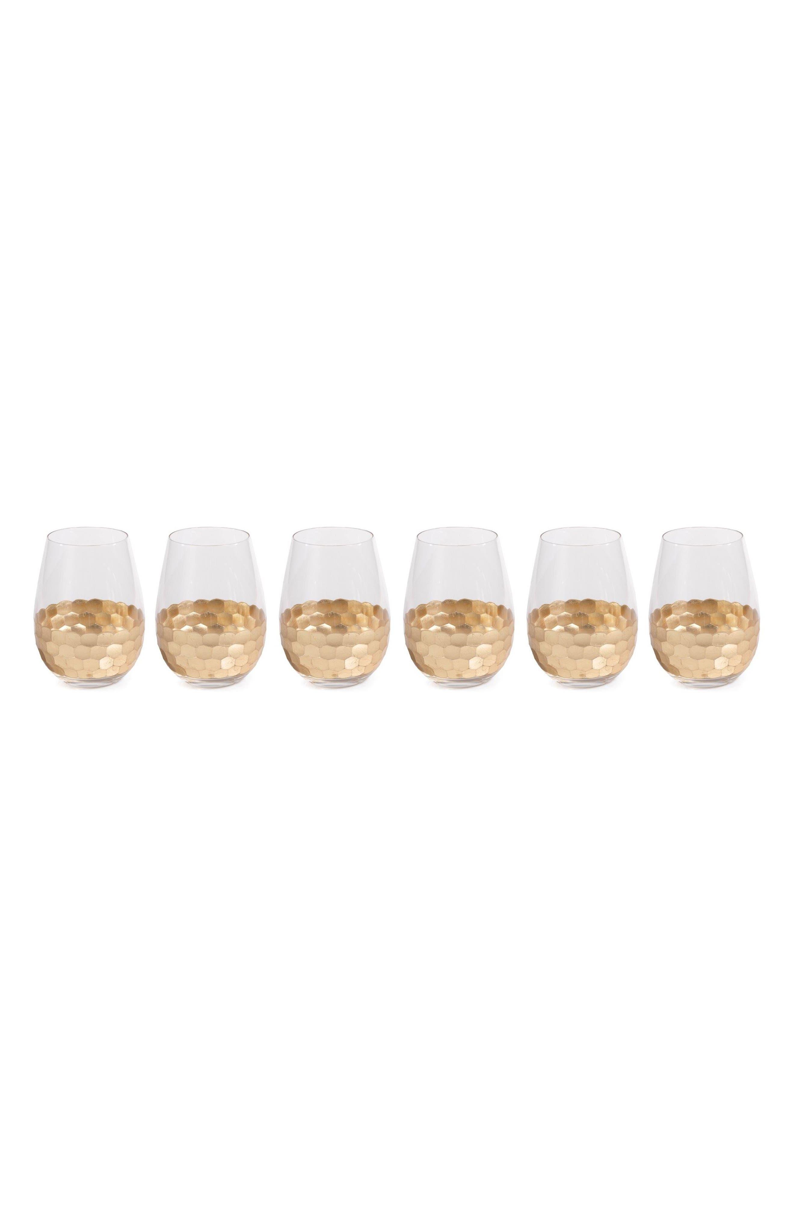 Zodax Vitorrio Set of 6 Stemless Wine Glasses