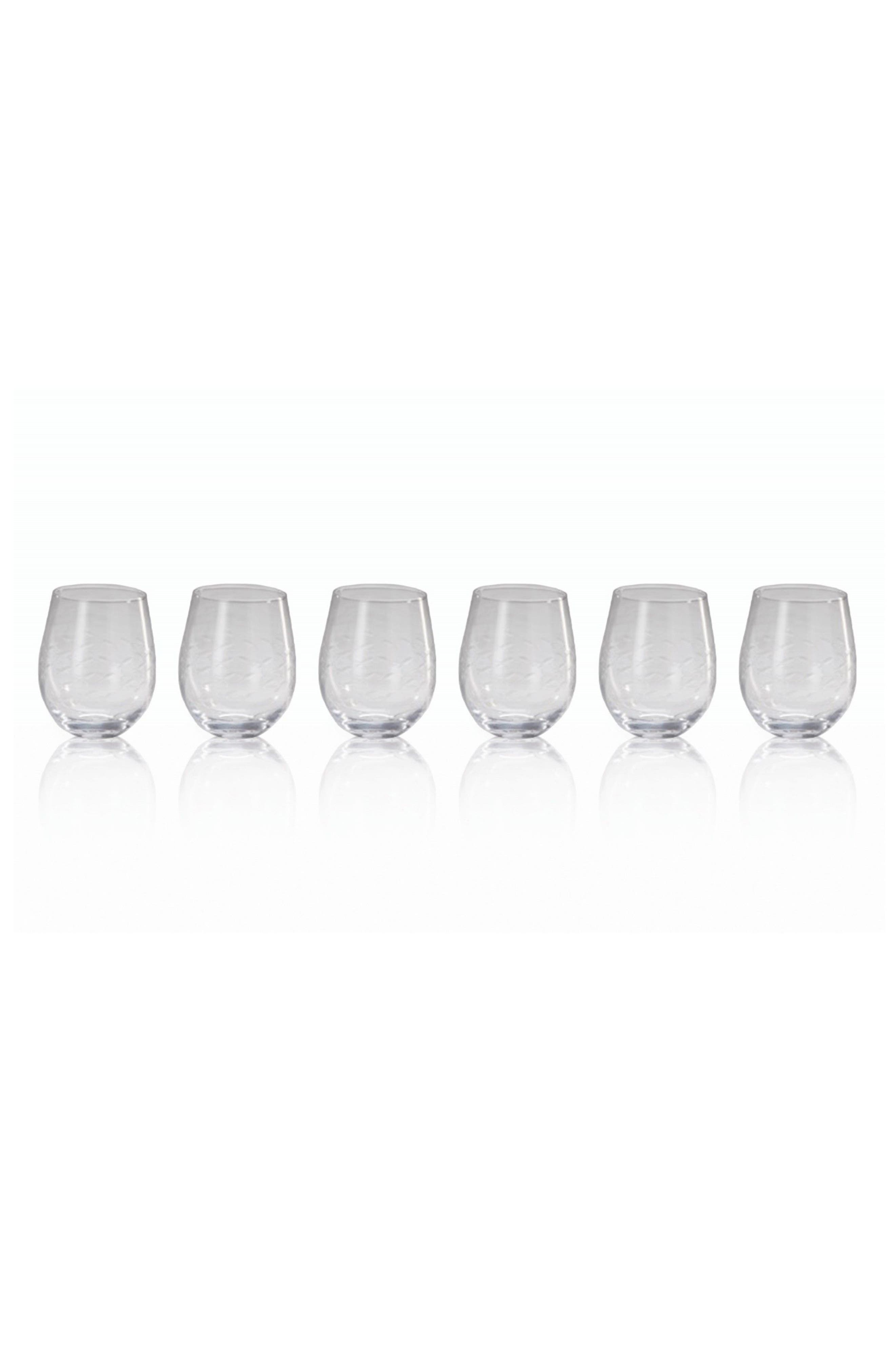 Keely Set of 6 Stemless Wine Glasses,                         Main,                         color, Clear