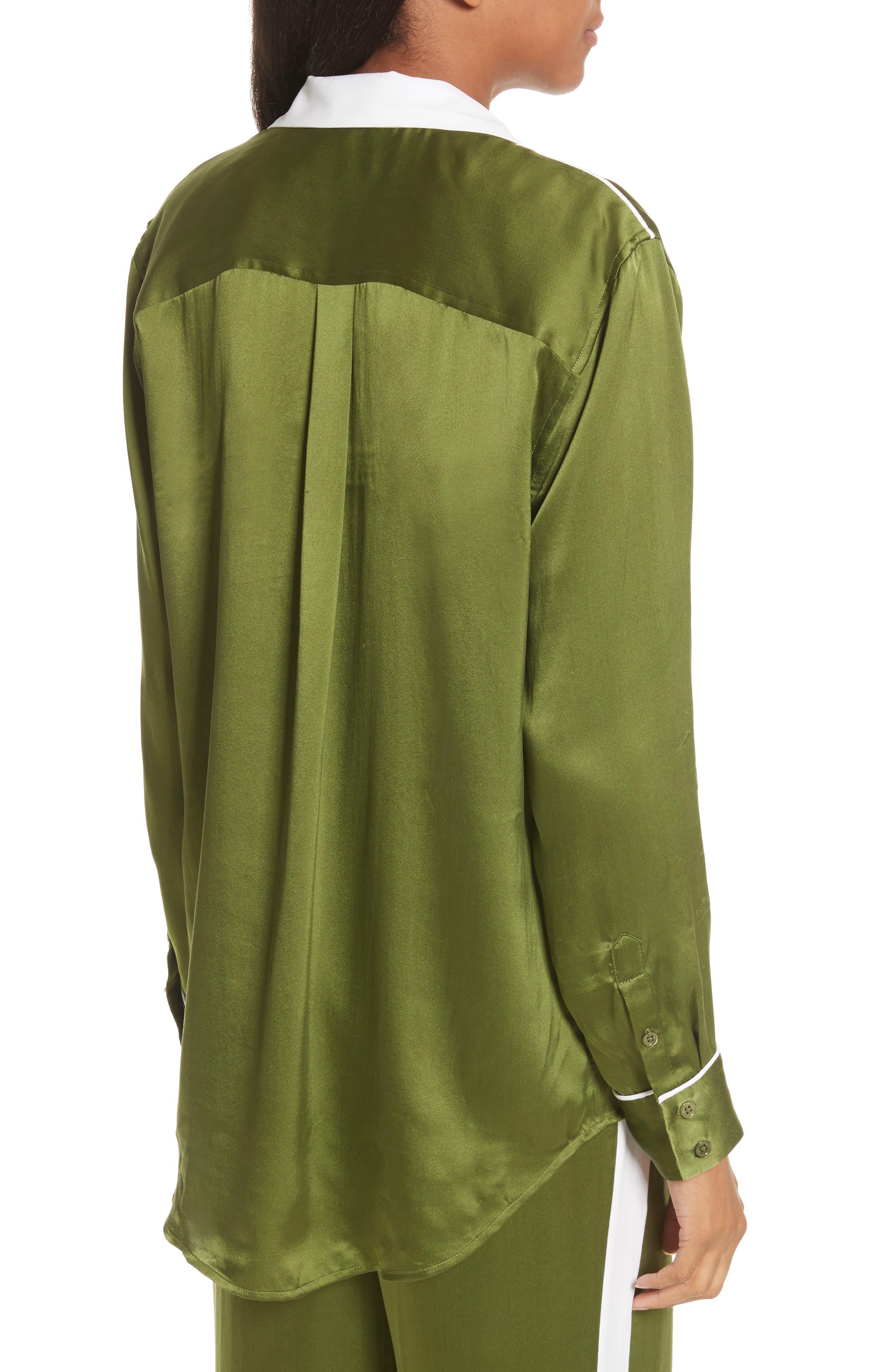 Ansley Print Silk Shirt,                             Alternate thumbnail 2, color,                             Combat Green