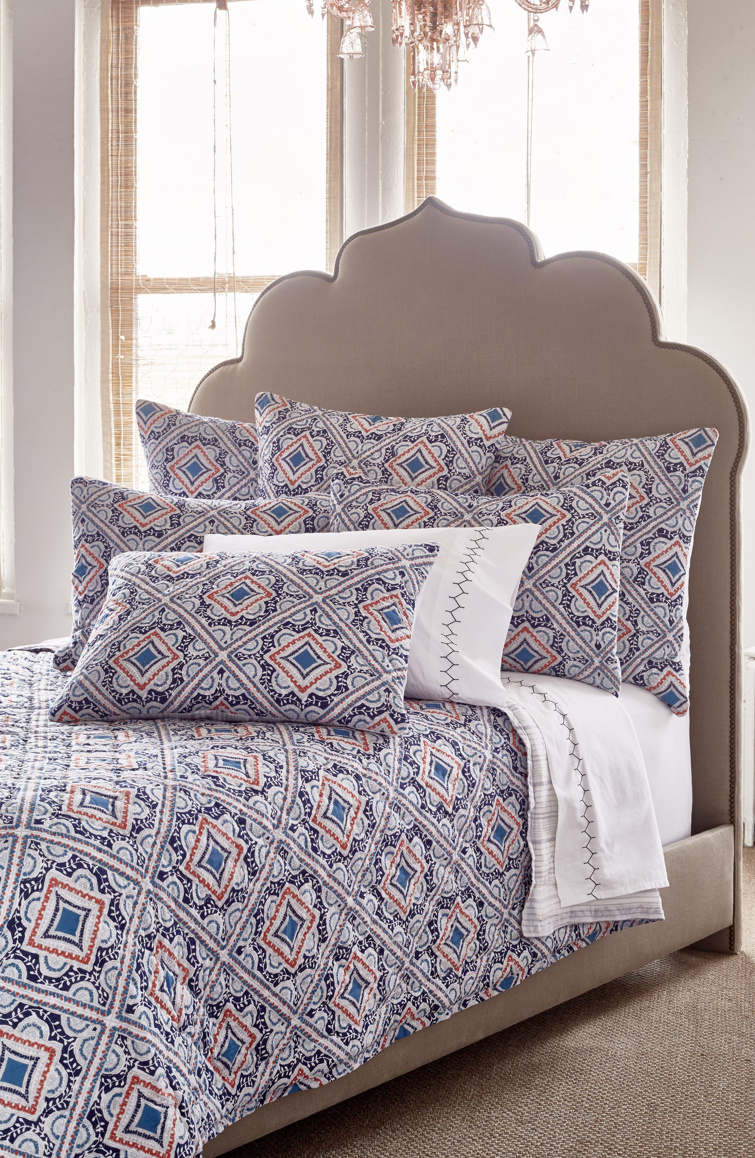 Sakuna 300 Thread Count Pillowcases,                             Alternate thumbnail 2, color,                             White/ Indigo