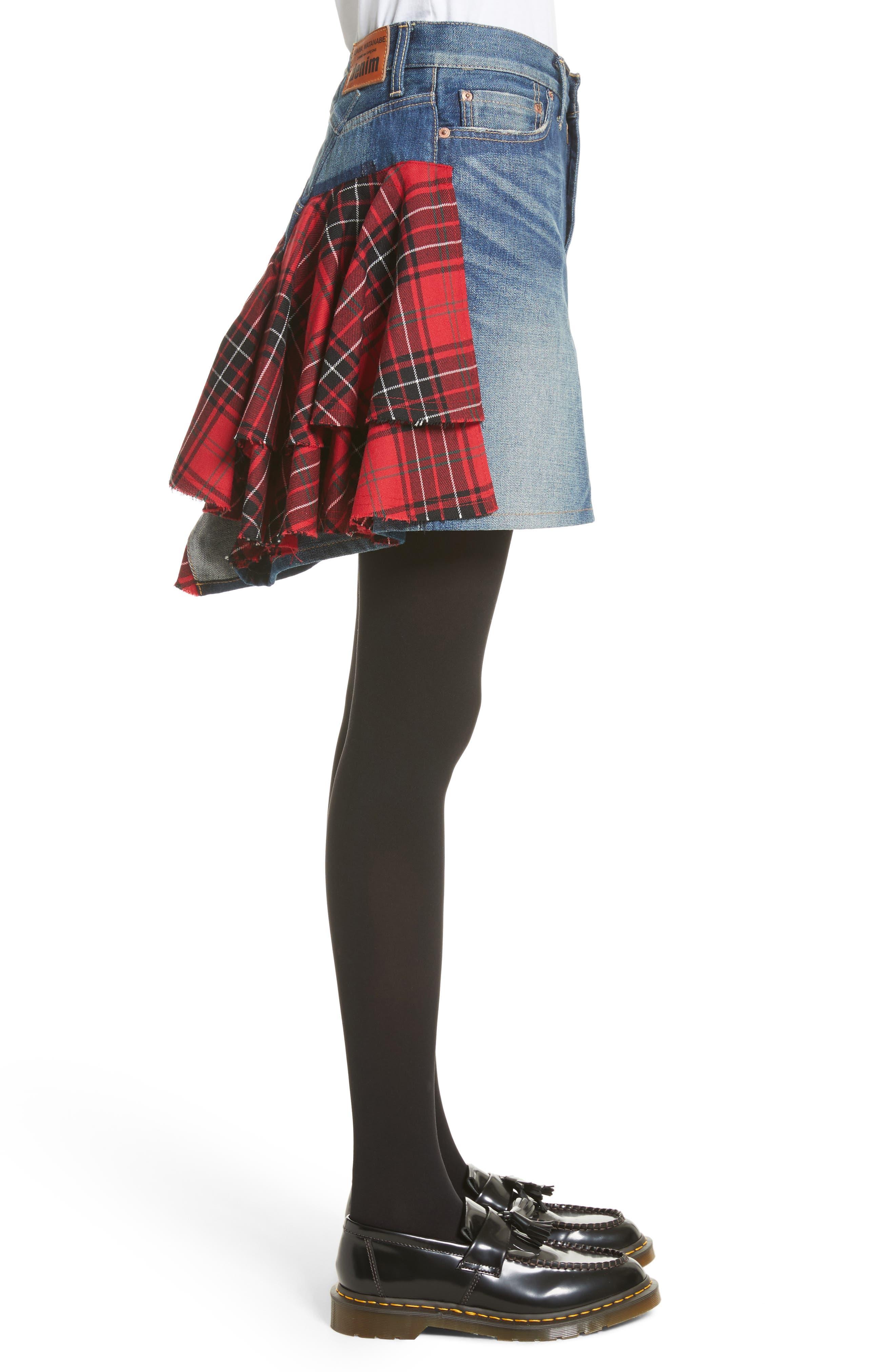 Tartan Back Denim Miniskirt,                             Alternate thumbnail 3, color,                             Indigo X Mix