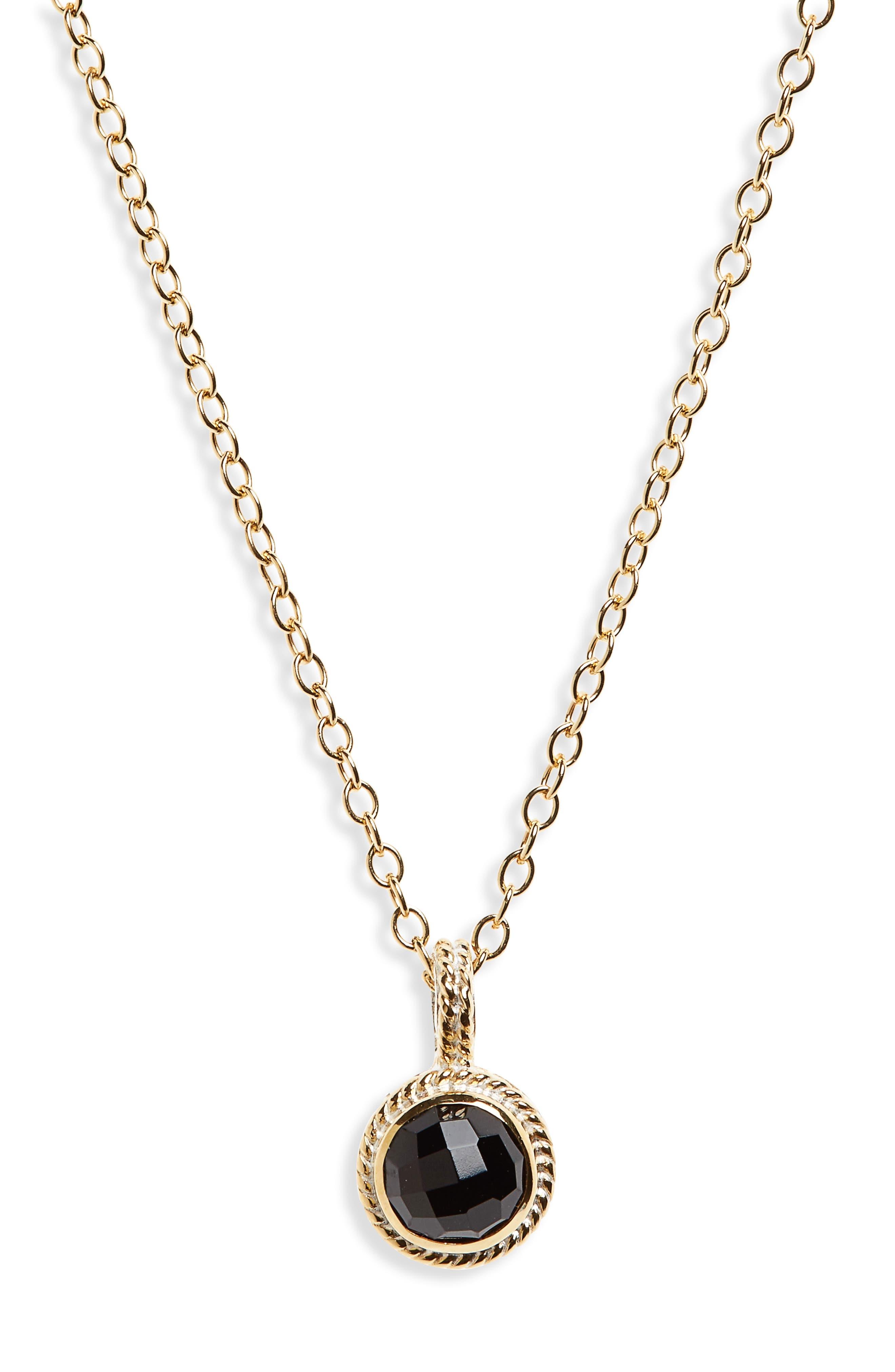 Semiprecious Stone Round Drop Pendant Necklace,                             Main thumbnail 1, color,                             Gold/ Black Onyx