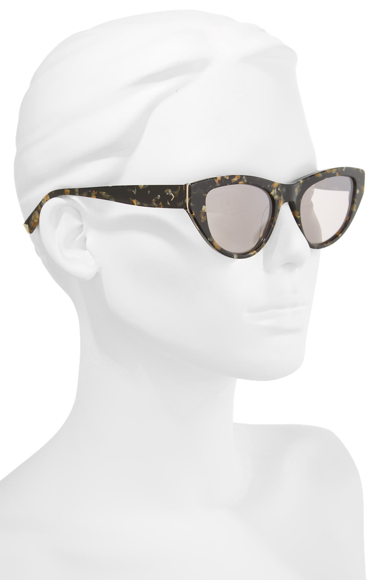 Sienna 52mm Retro Cat Eye Sunglasses,                             Alternate thumbnail 2, color,                             Black Gold Pearl/ Gold