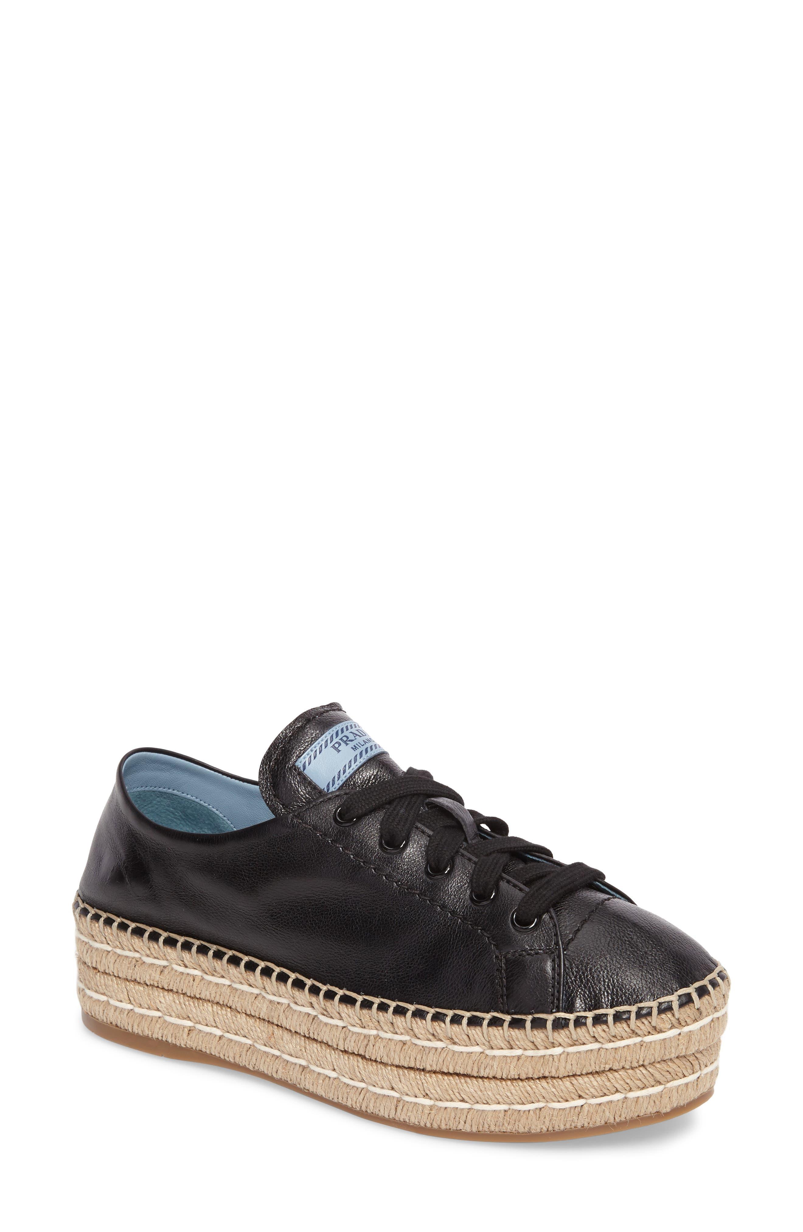 Flatform Espadrille Sneaker,                             Main thumbnail 1, color,                             Black