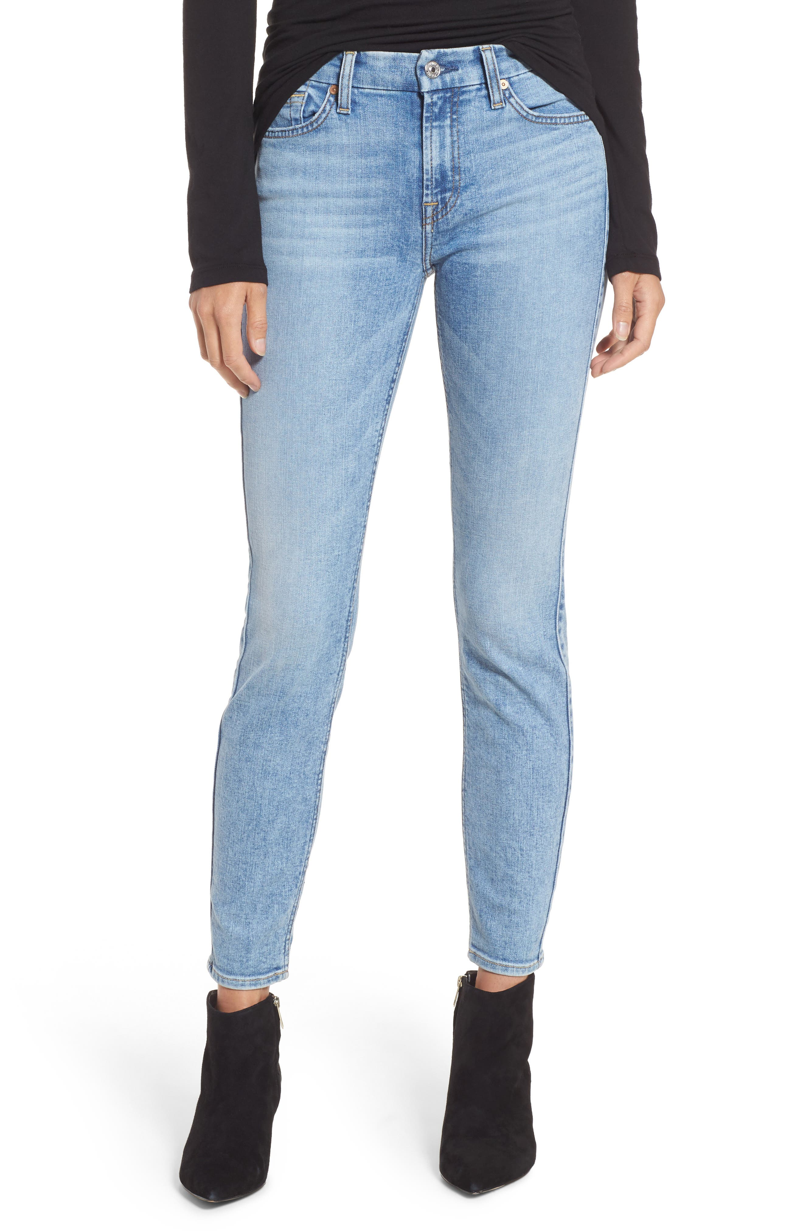 Embellished & Ripped Ankle Skinny Jeans,                             Main thumbnail 1, color,                             Radiant Wythe