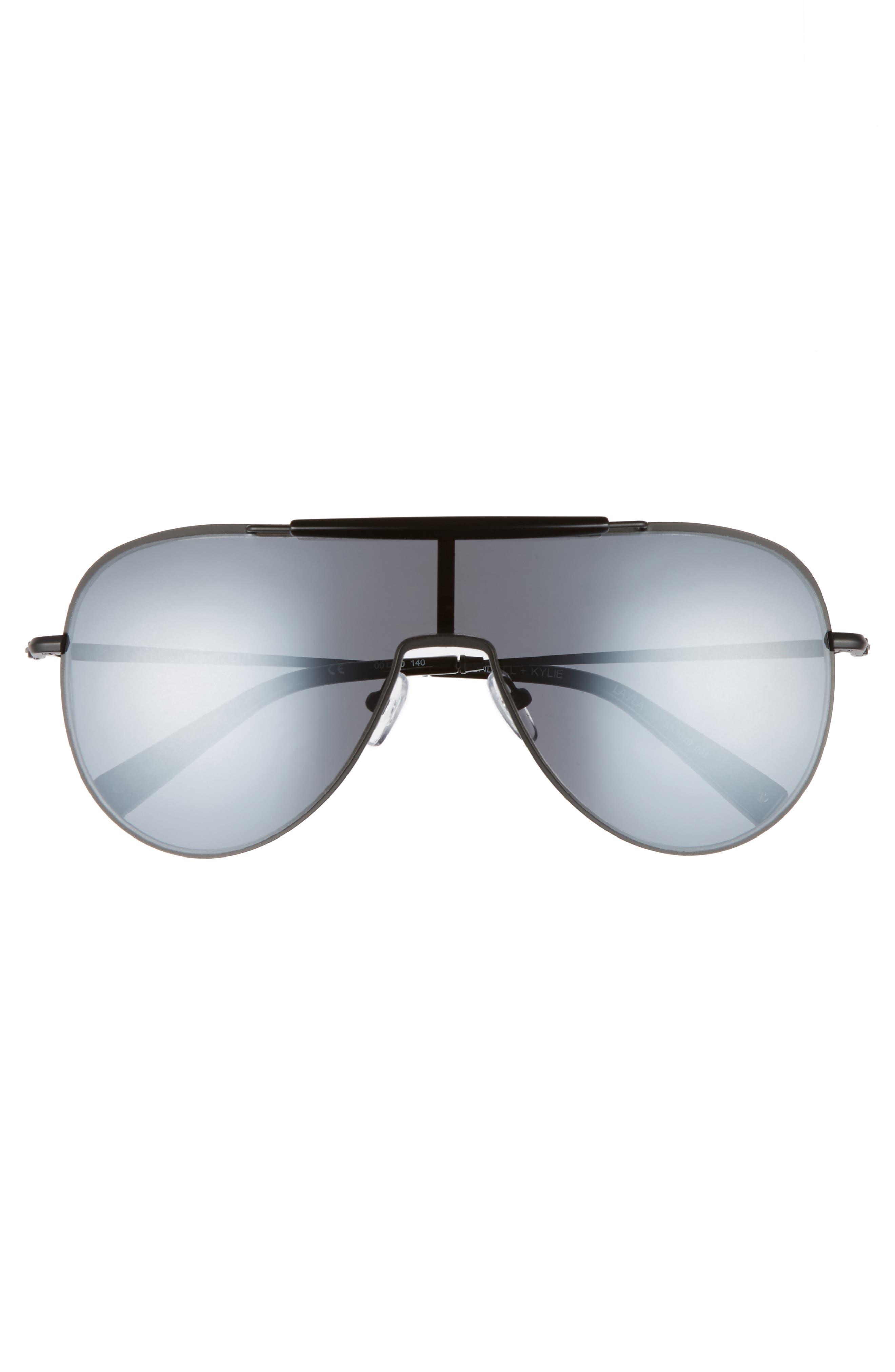 Shield Aviator Sunglasses,                             Alternate thumbnail 3, color,                             Black/ Black