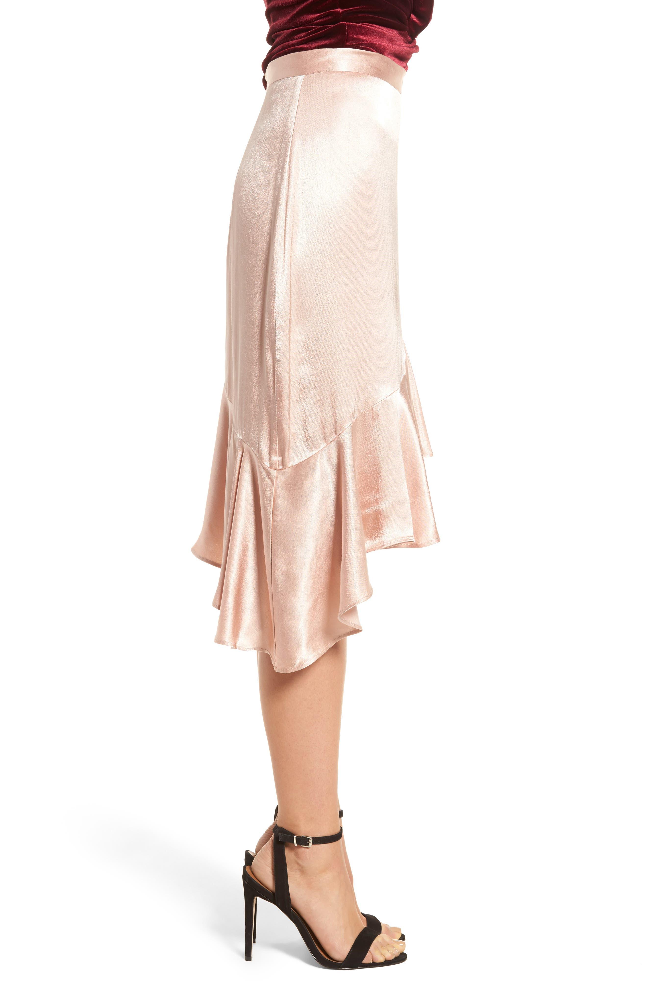 Sateen Ruffle Skirt,                             Alternate thumbnail 3, color,                             Beige Maple