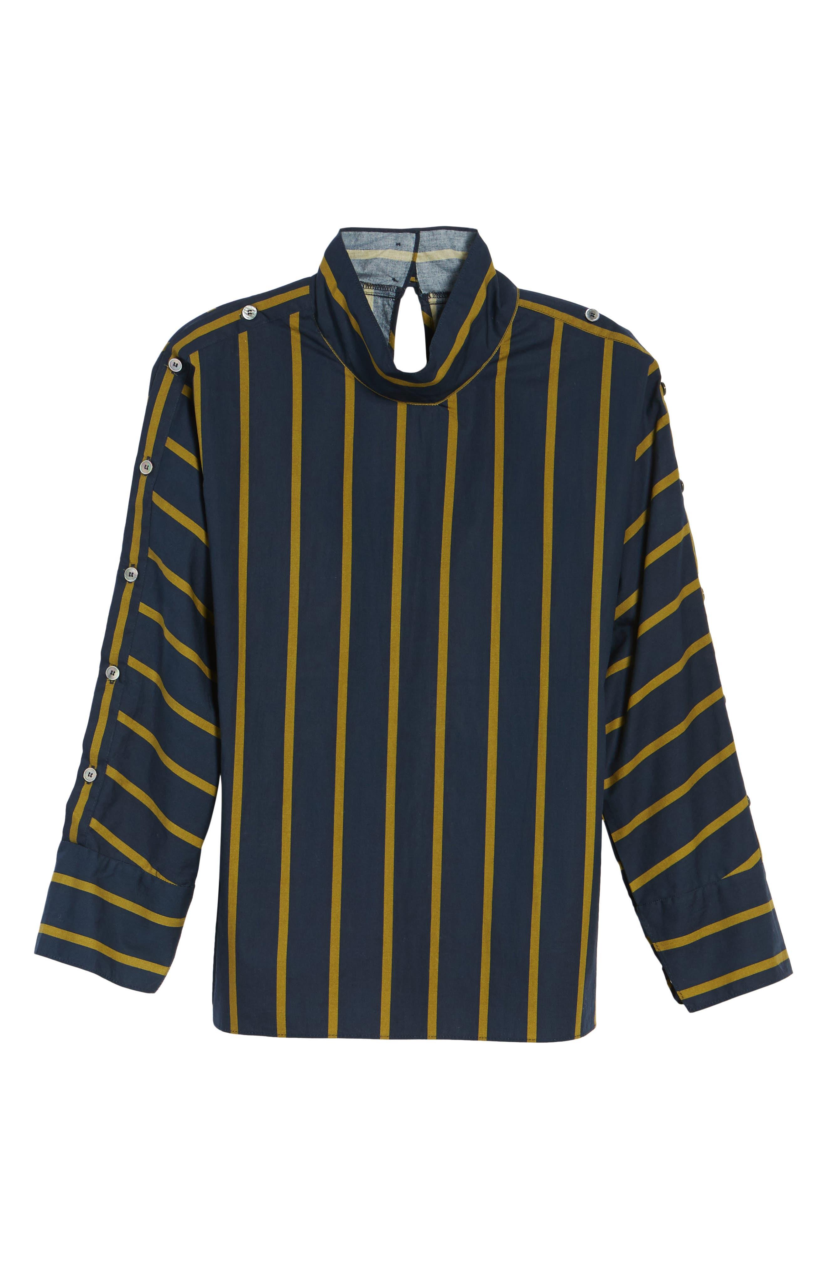 Stripe Button Sleeve Shirt,                             Alternate thumbnail 6, color,                             Navy