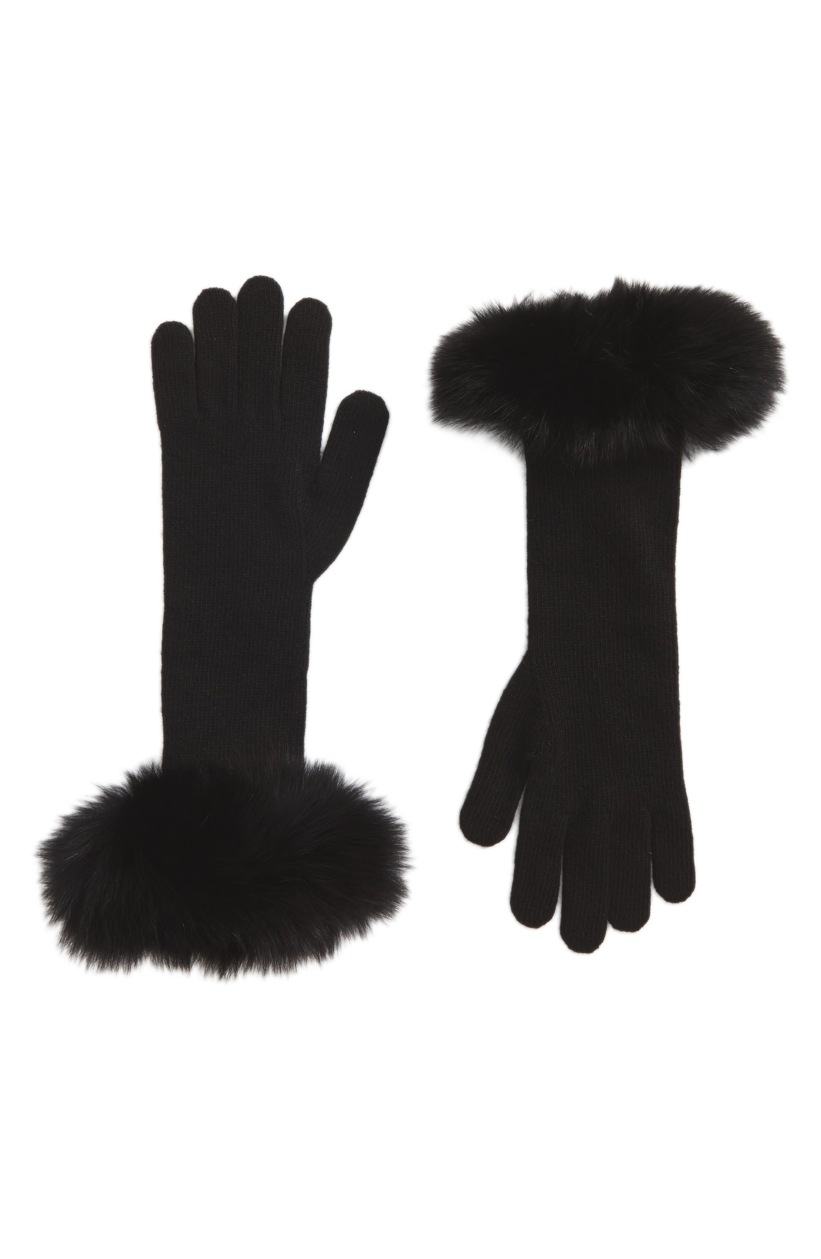 Max Mara Knit Gloves with Genuine Fox Fur Trim