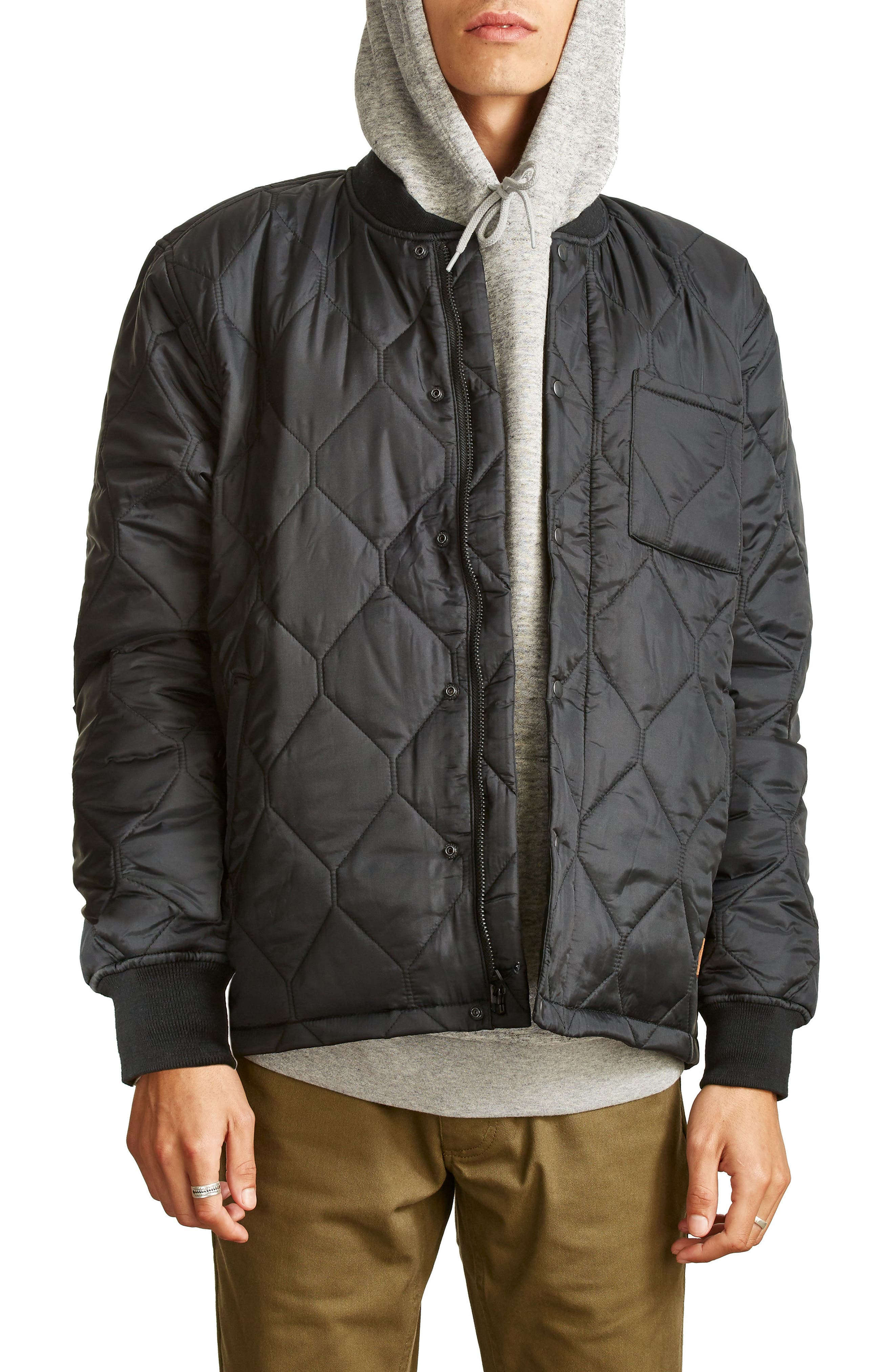 Crawford Quilted Jacket,                             Main thumbnail 1, color,                             Black