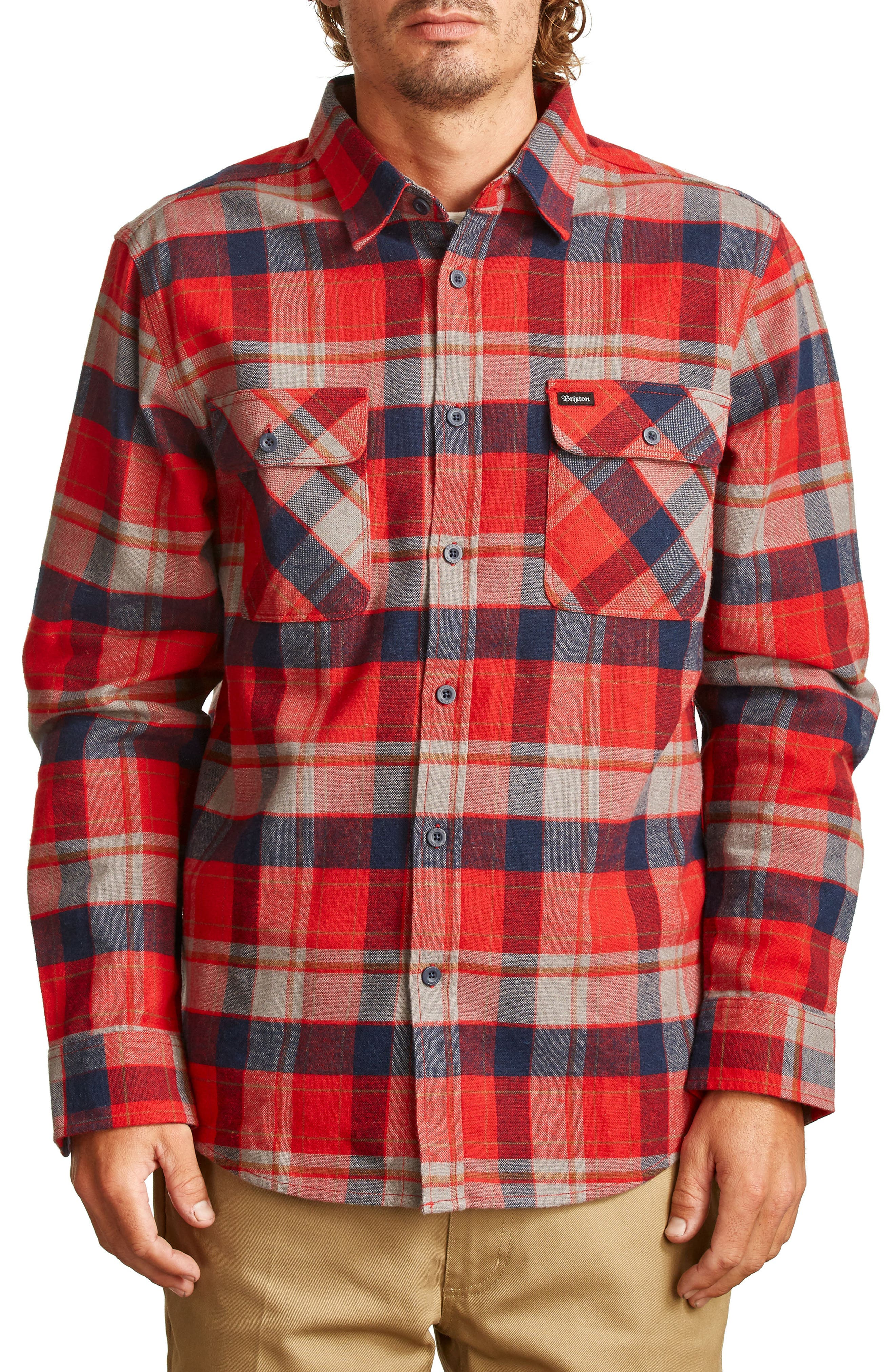 Bowery Flannel Shirt,                             Main thumbnail 1, color,                             Red/ Heather Grey/ Navy