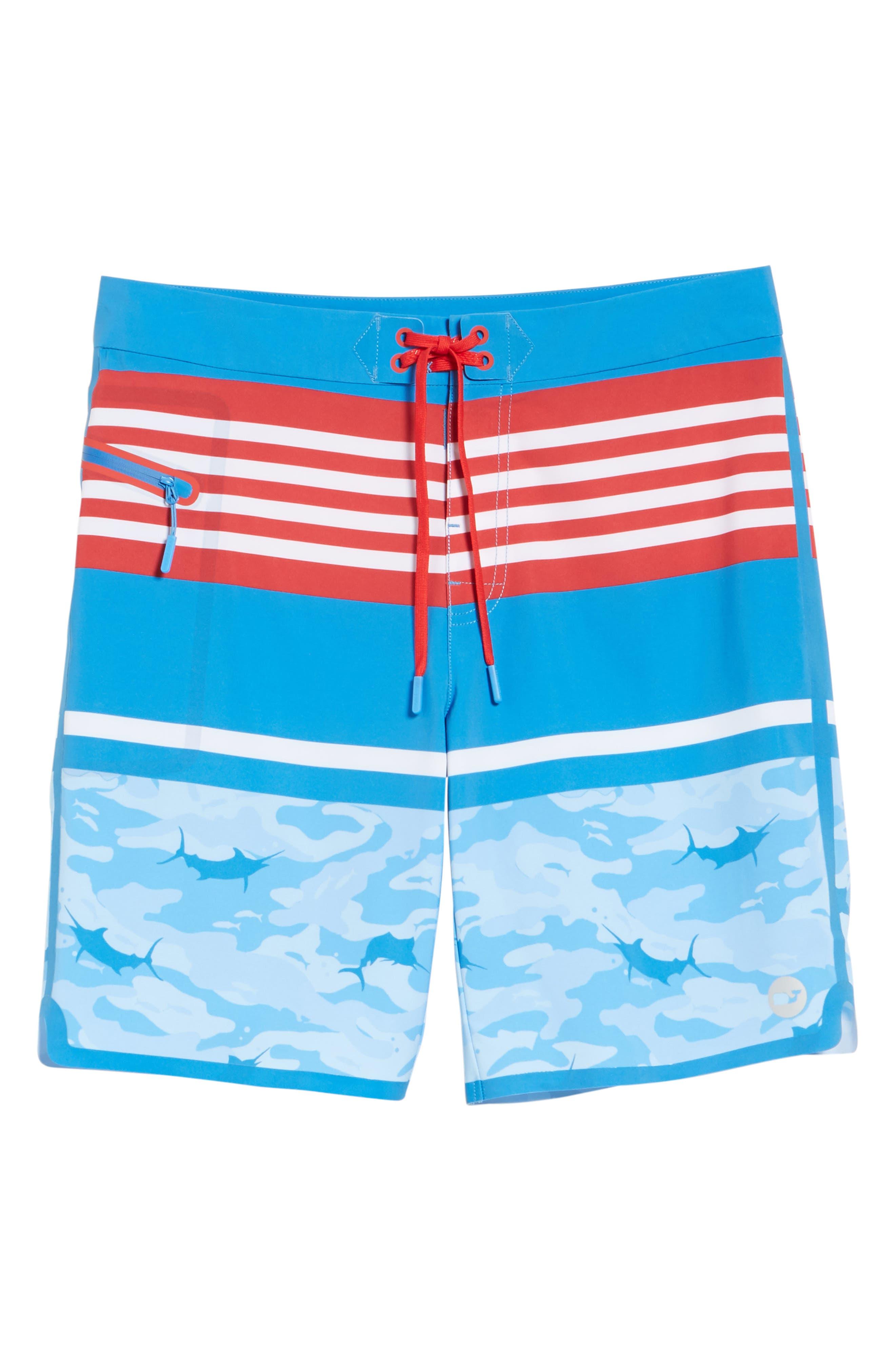 Fish Camo Stripe Board Shorts,                             Alternate thumbnail 6, color,                             Hull Blue
