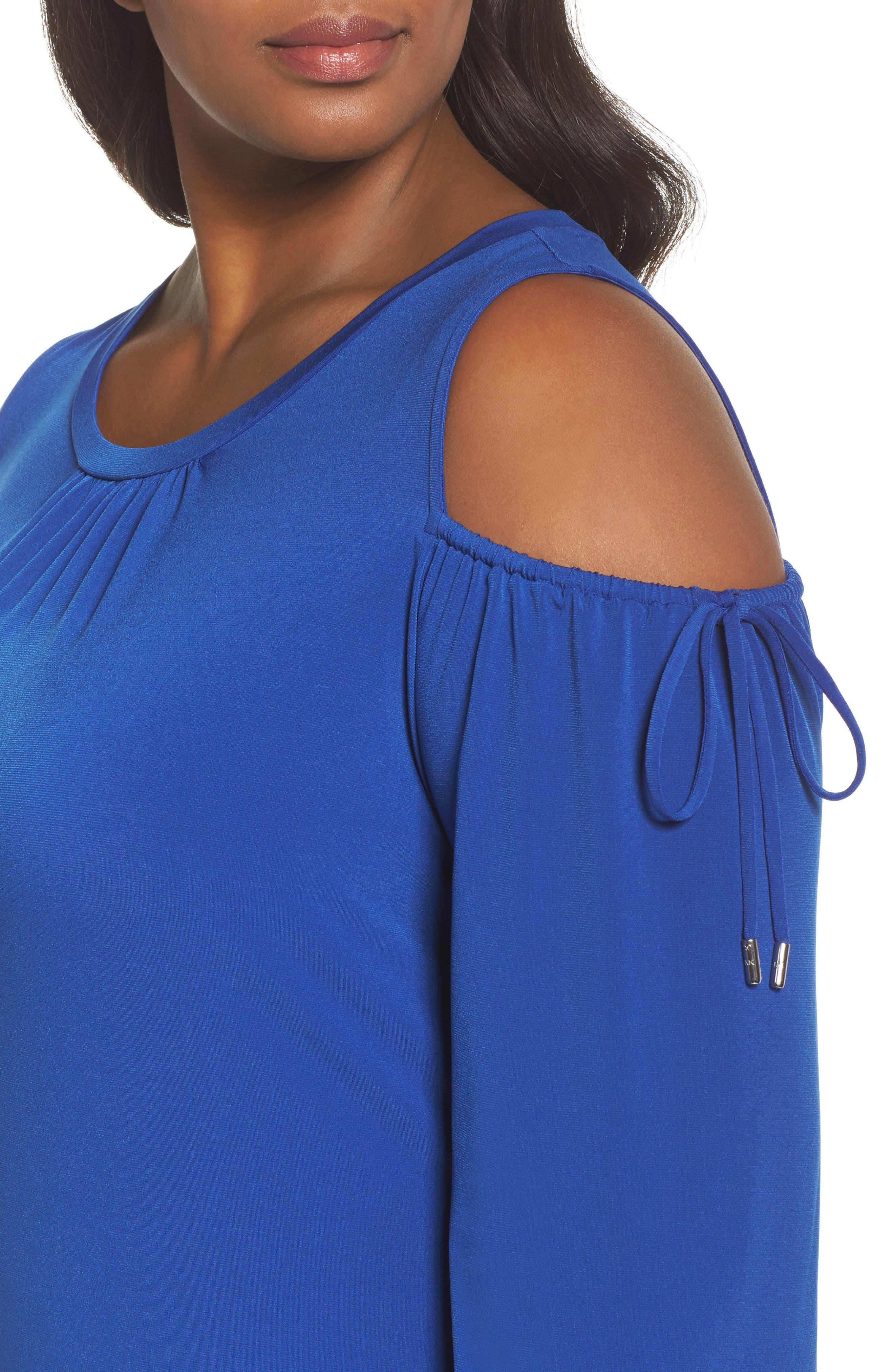 Cold Shoulder Shift Dress,                             Alternate thumbnail 4, color,                             Blue