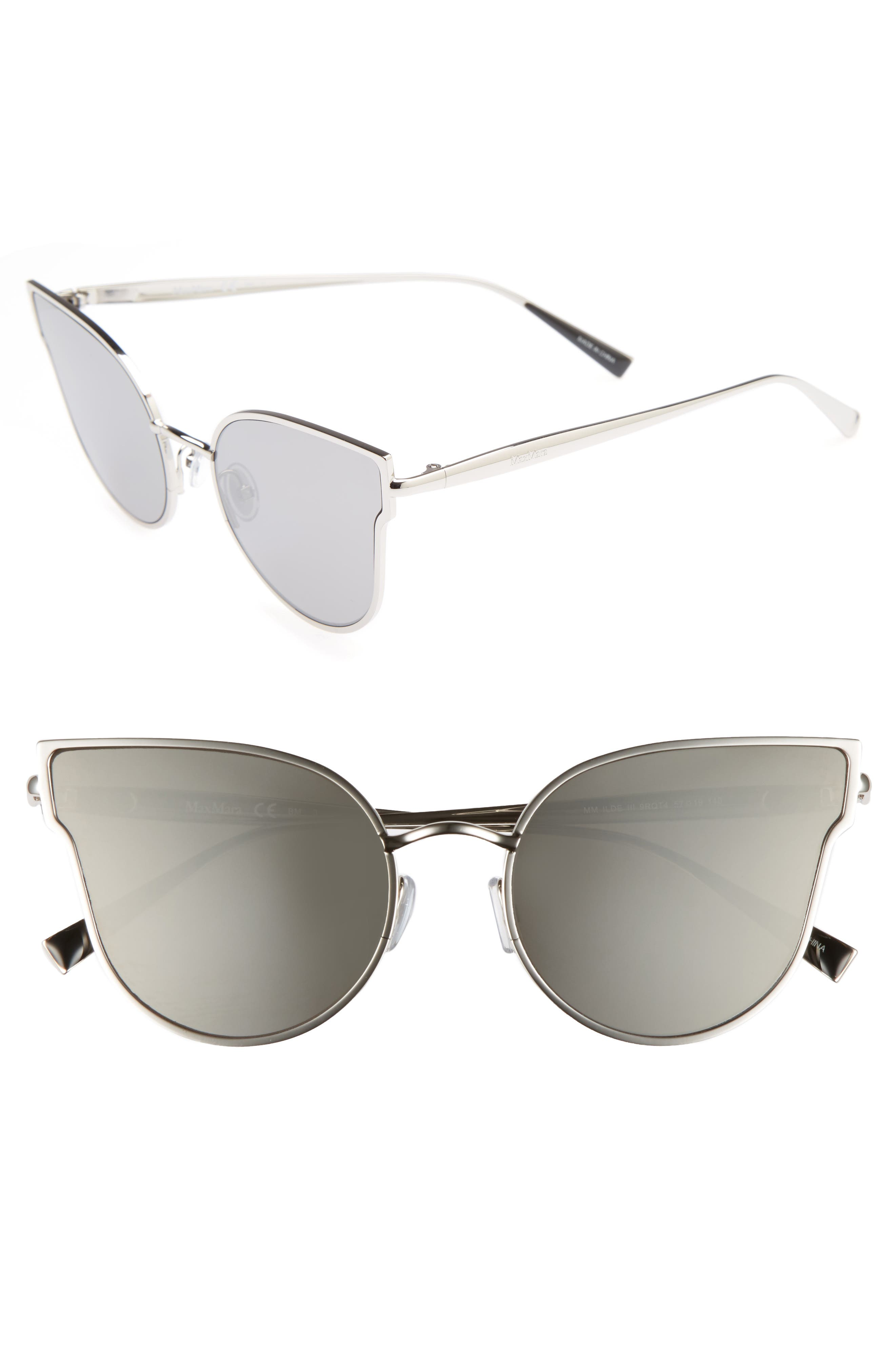 Ilde III 57mm Mirrored Cat Eye Sunglasses,                             Main thumbnail 1, color,                             Smoke Silver