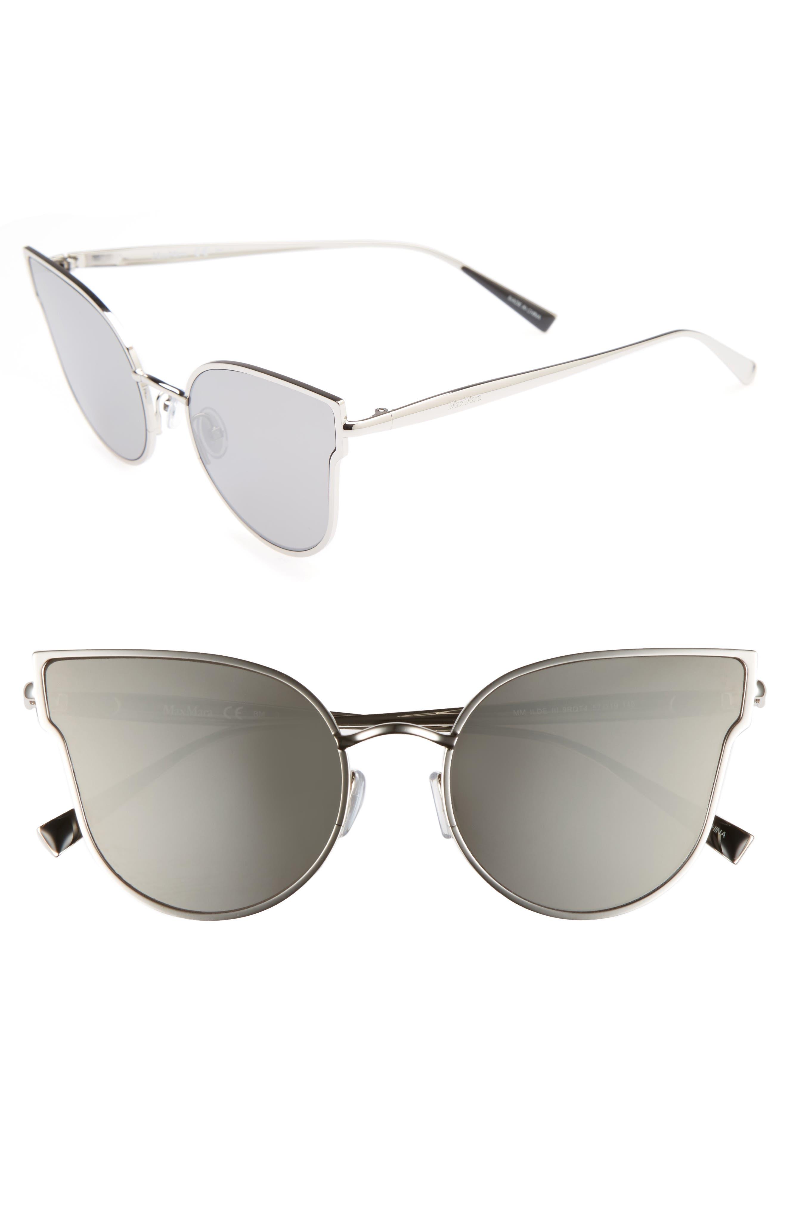 Ilde III 57mm Mirrored Cat Eye Sunglasses,                         Main,                         color, Smoke Silver