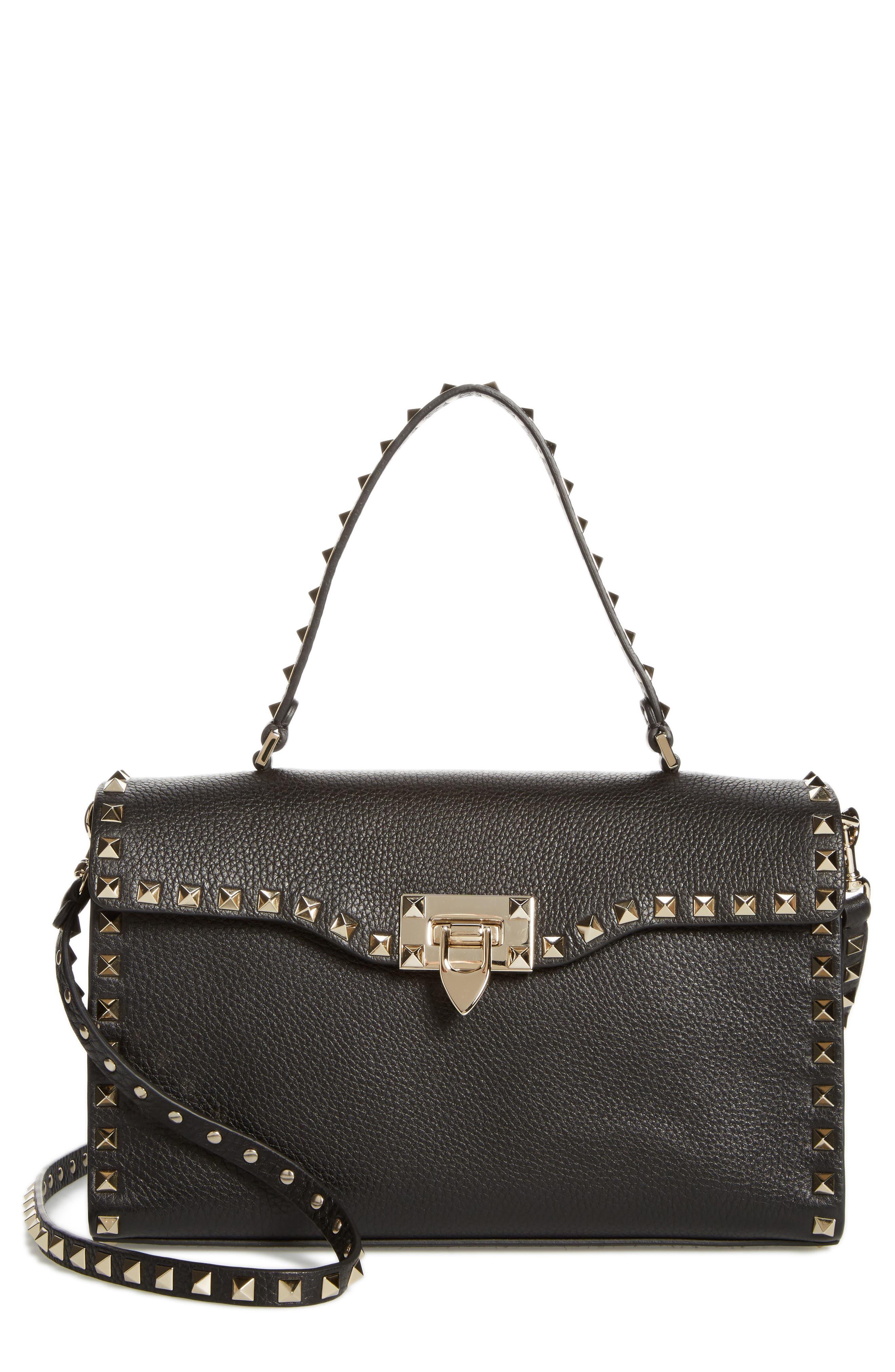 Small Rockstud Leather Single Handle Shoulder Bag,                             Main thumbnail 1, color,                             Black