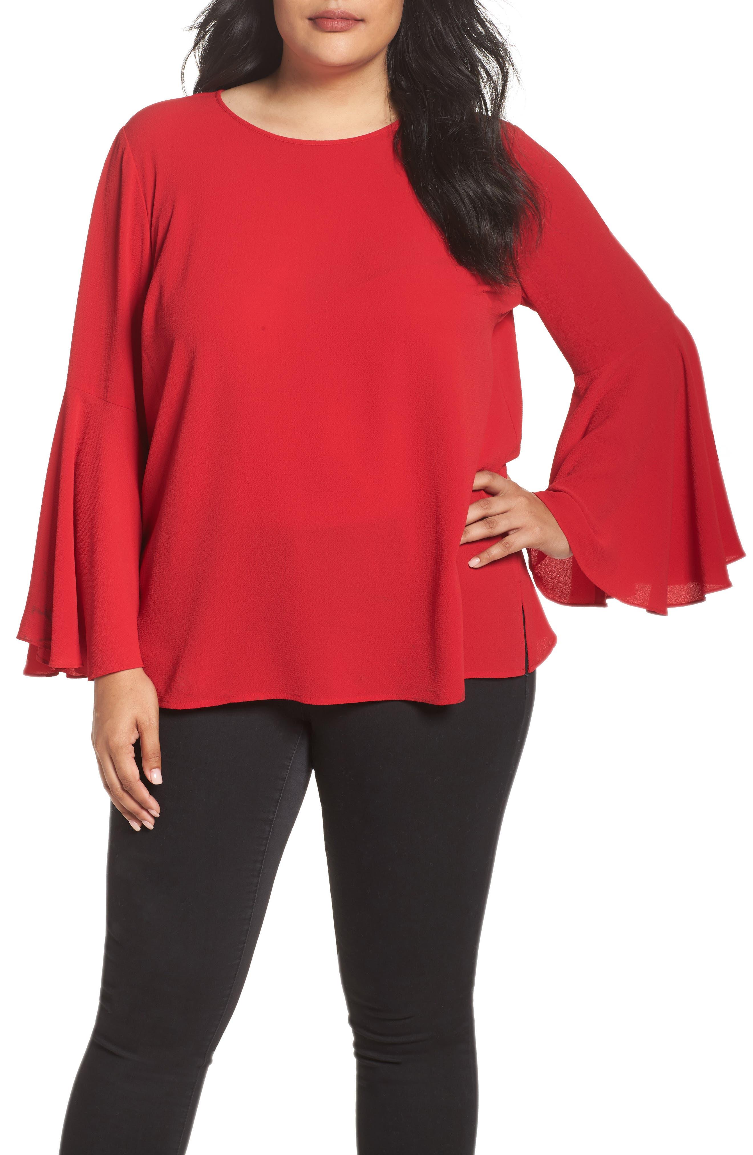 Bell Sleeve Blouse,                         Main,                         color, True Crimson