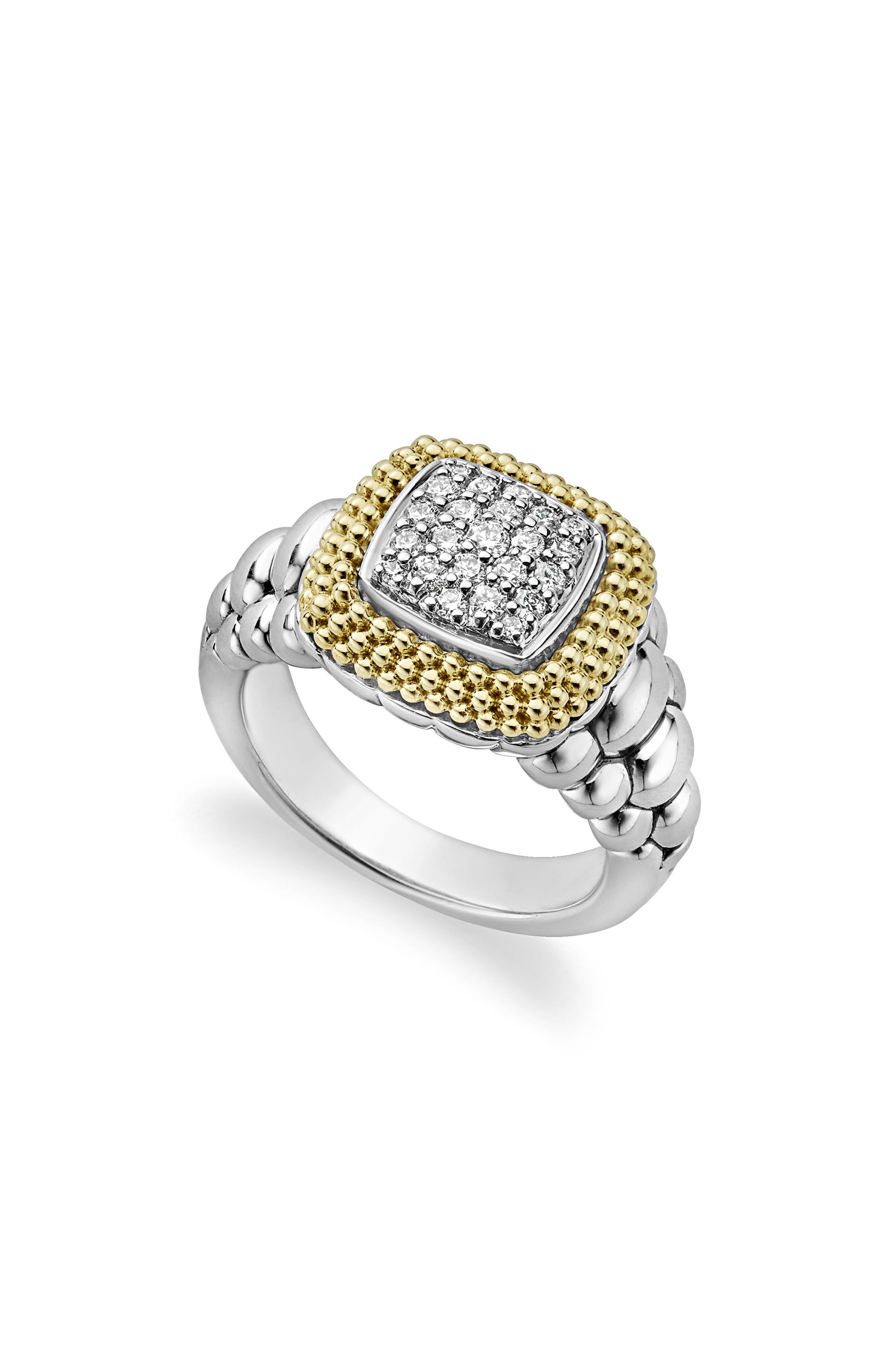 Diamond Lux Square Ring,                         Main,                         color, Diamond
