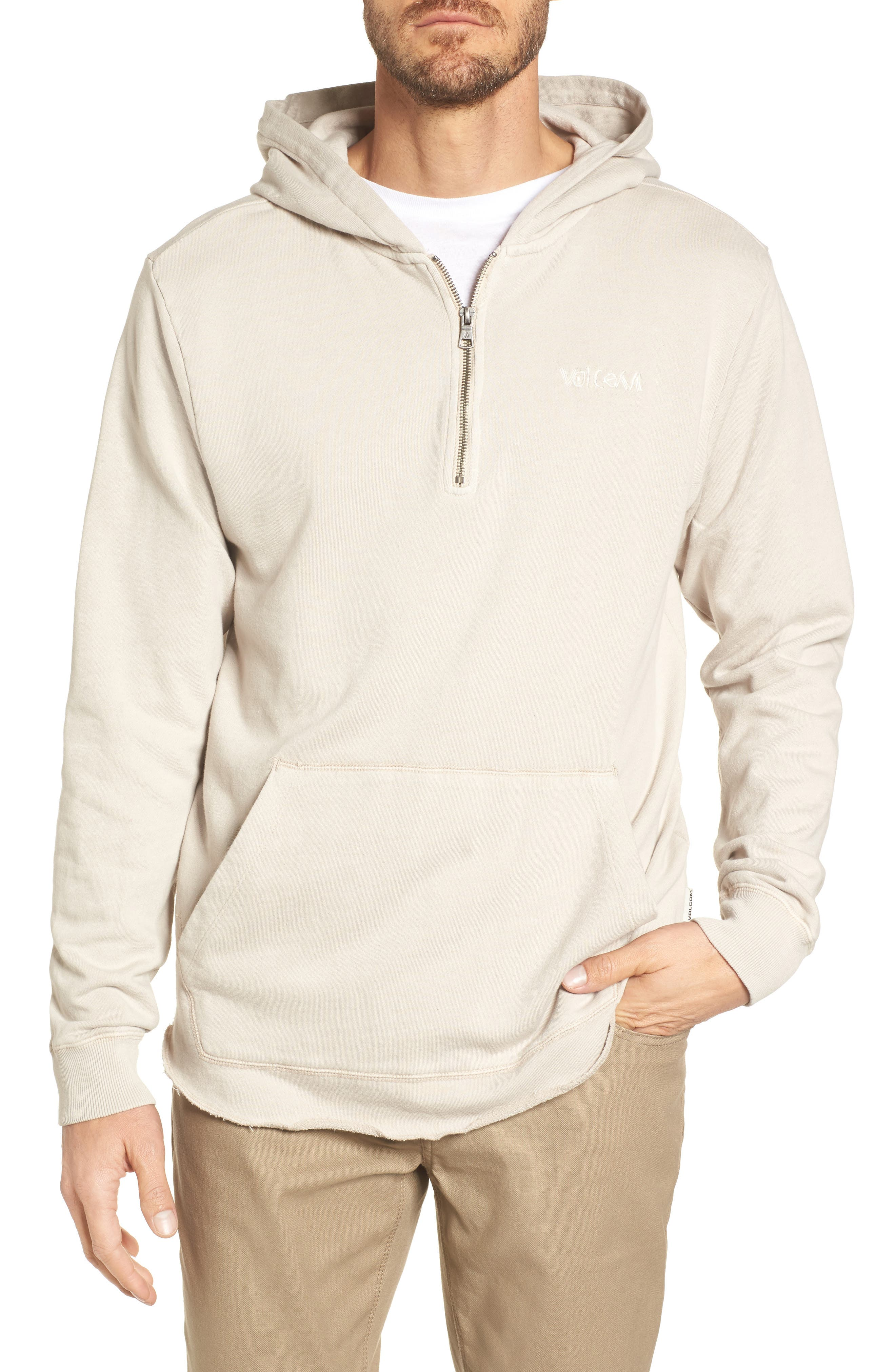 Cassette Embroidered Half Zip Hoodie,                             Main thumbnail 1, color,                             Beige