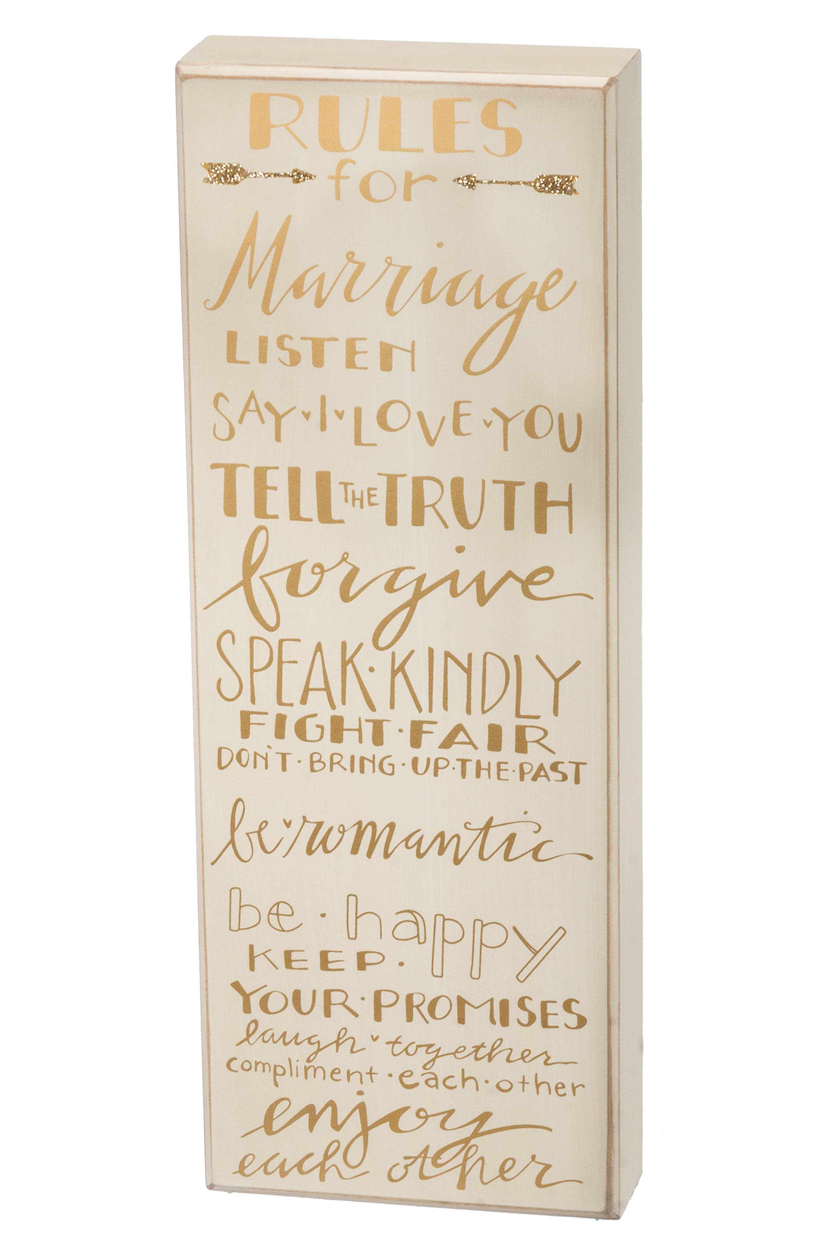 Rules of Marriage Box Sign,                         Main,                         color, Gold