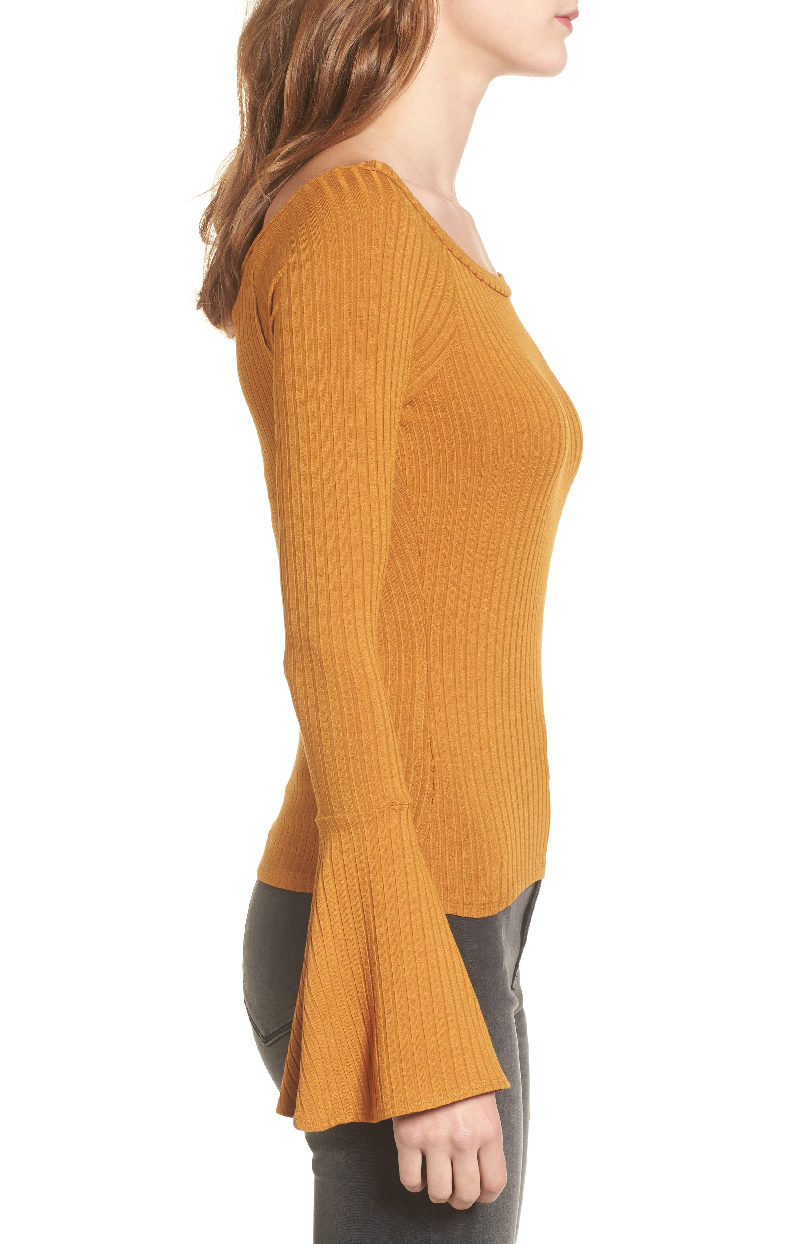 Bell Sleeve Ribbed Top,                             Alternate thumbnail 3, color,                             Mustard